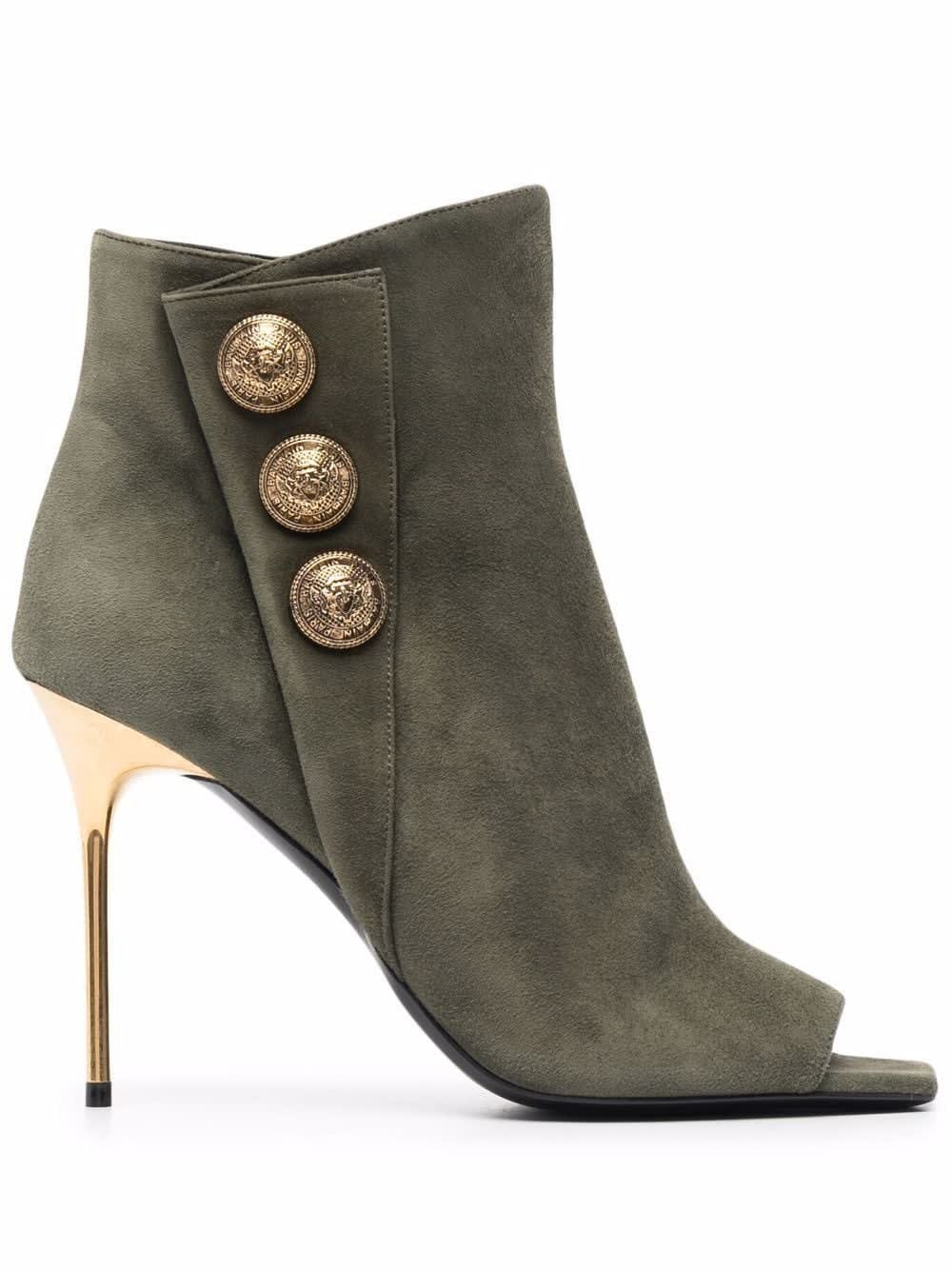 Buy Balmain Military Green Suede Ankle Boot With Golden Embossed Buttons online, shop Balmain shoes with free shipping