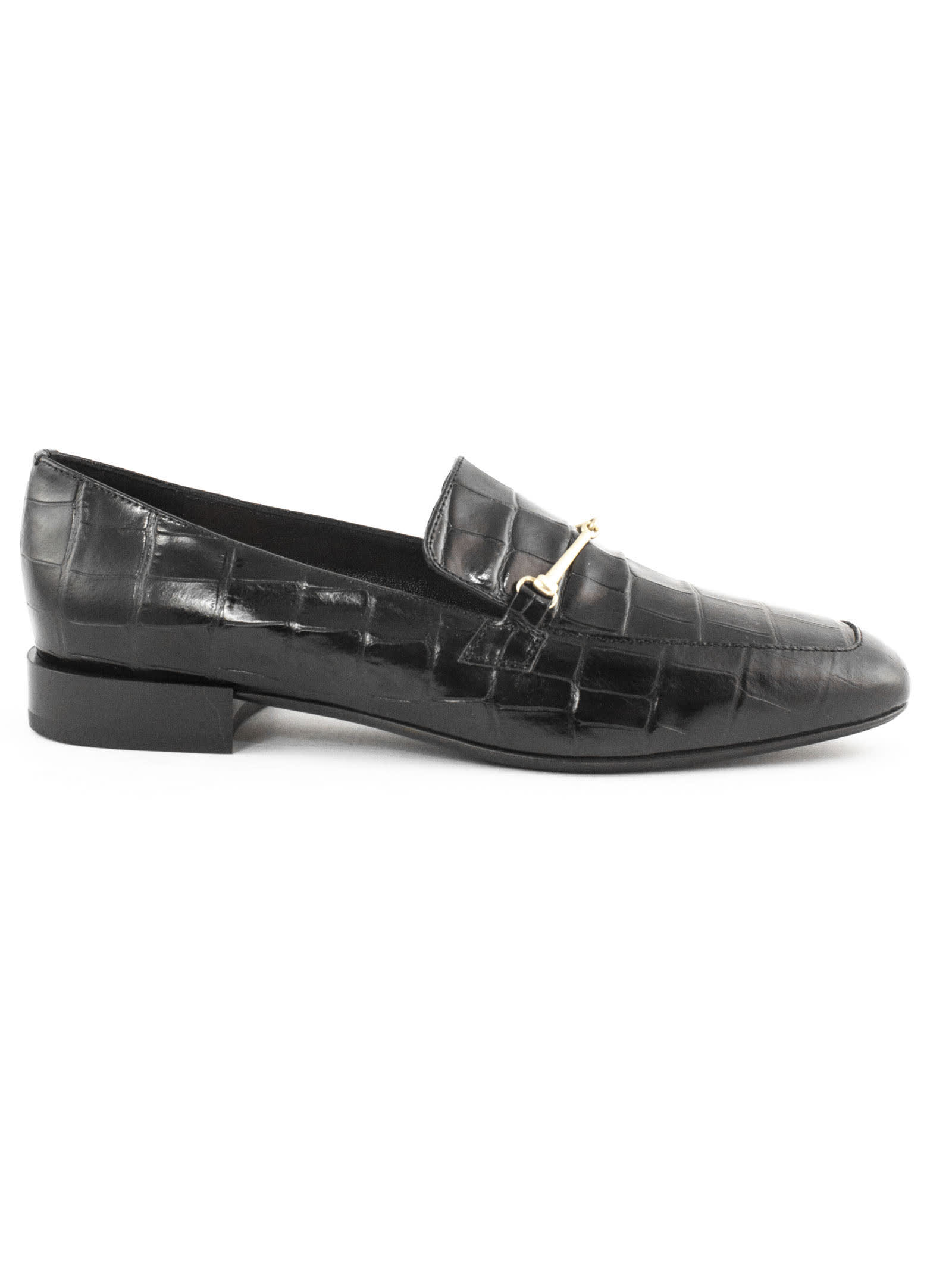 Crocodile Print Black Leather Loafer
