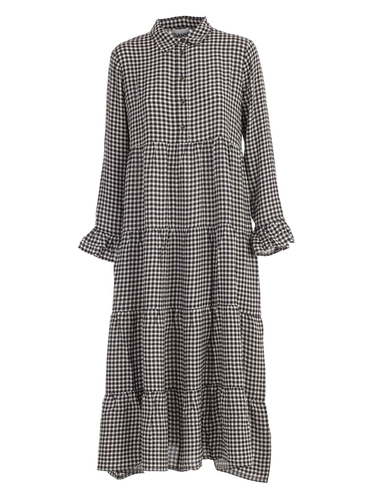 Photo of  Ganni Dress L & s Check W & flounce- shop Ganni  online sales