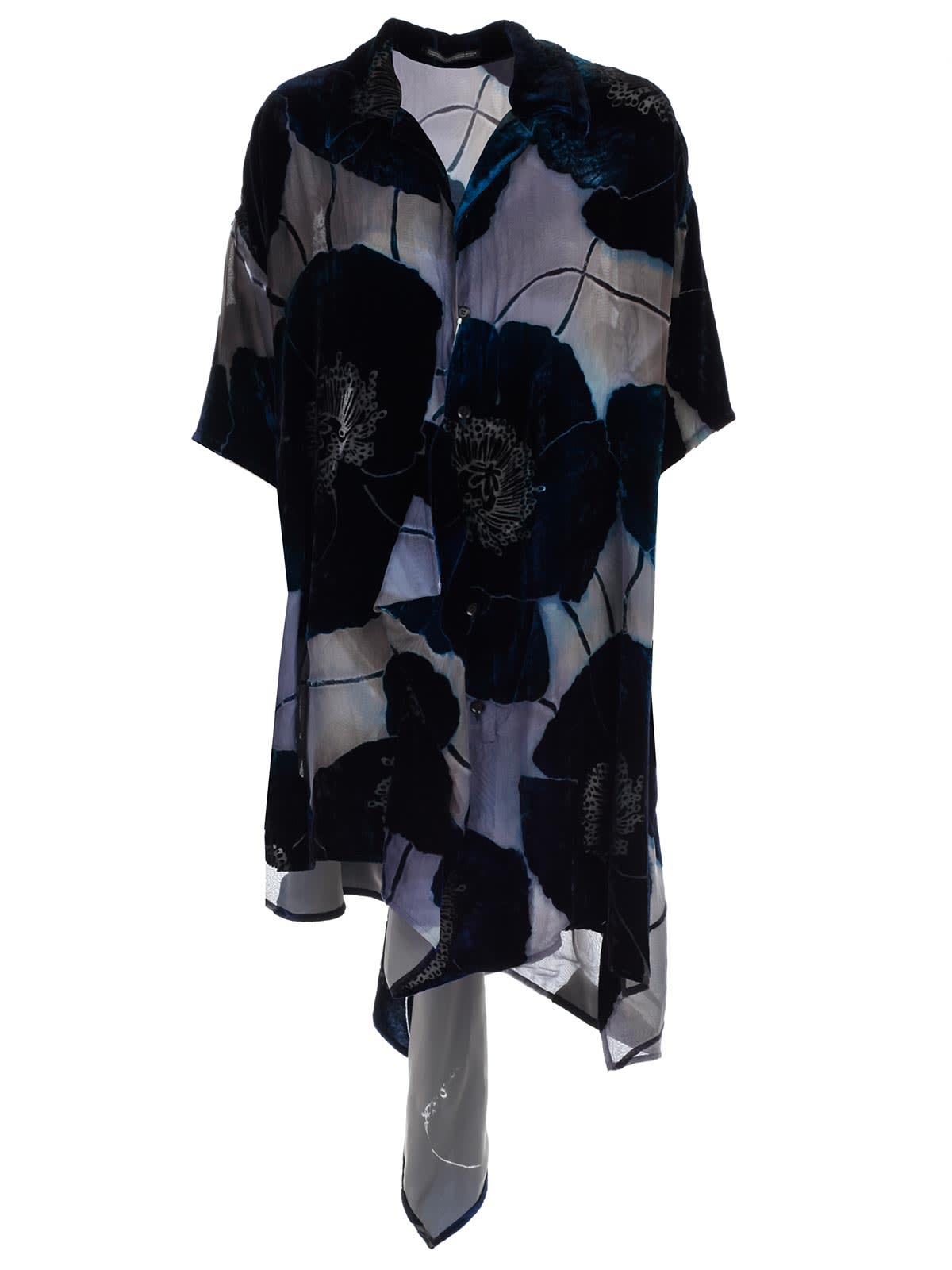 Yohji Yamamoto Floral Applique Shirt Dress