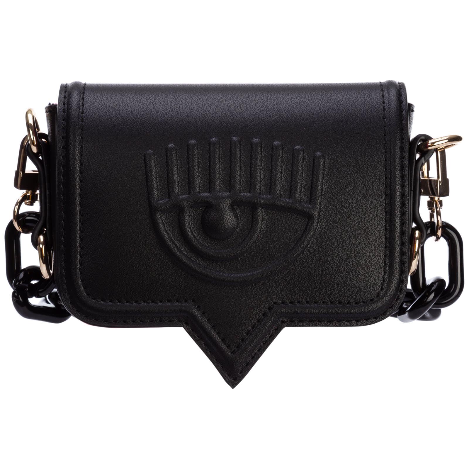 Chiara Ferragni Eyelike Crossbody Bags In Black