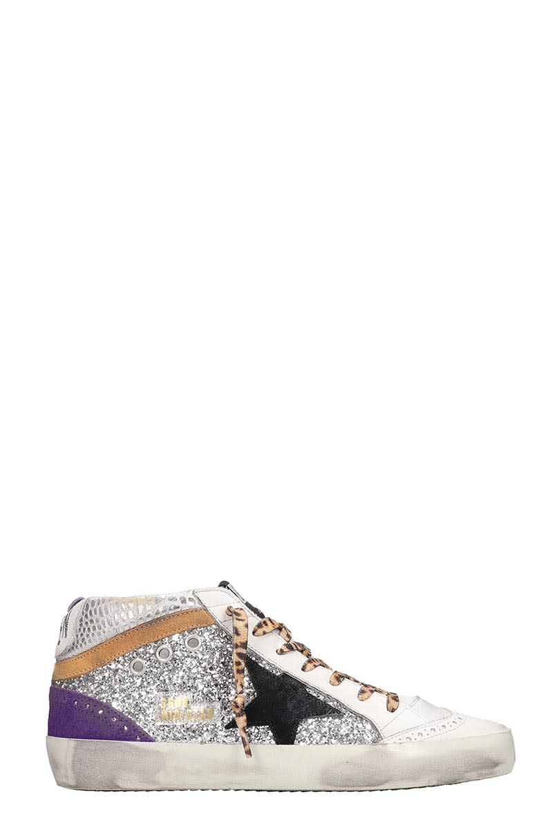 Mid star Sneakers in silver synthetic fibers, lace up, side zip, silver glitter detail, rubber outsoleComposition: Synthetic Fibers