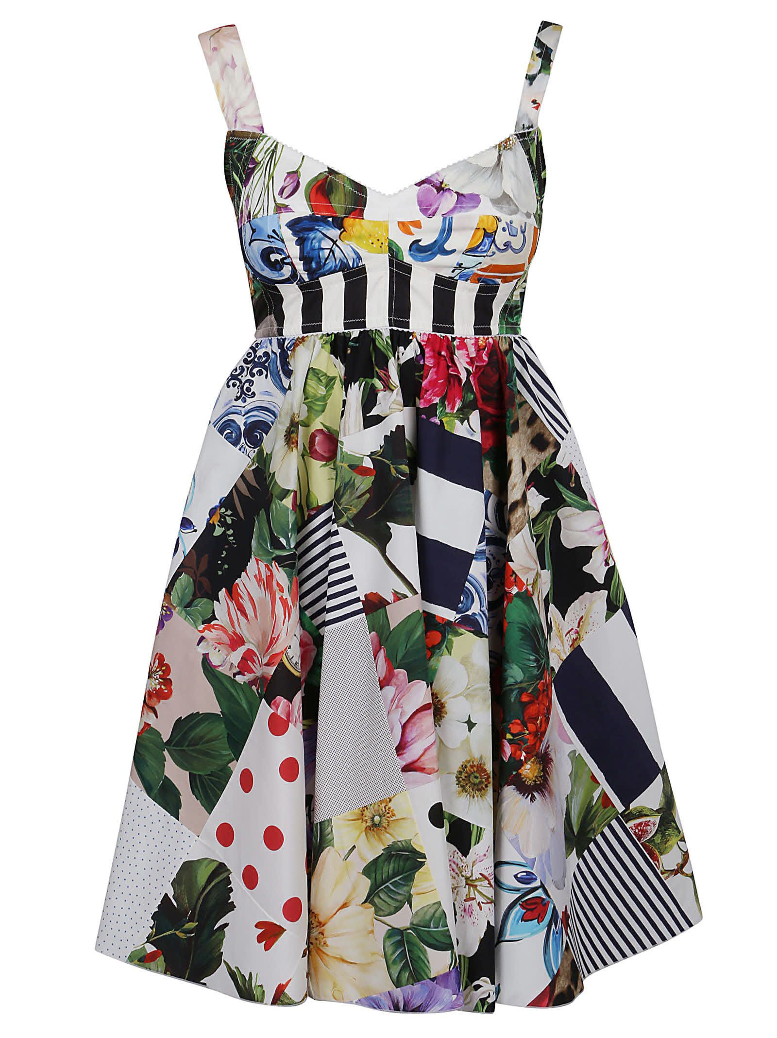 Buy Dolce & Gabbana Pleated Floral Short Dress online, shop Dolce & Gabbana with free shipping