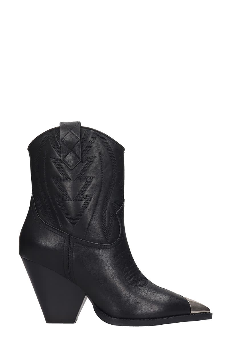Lola Cruz Lola Cruz Texan Ankle Boots In Black Leather