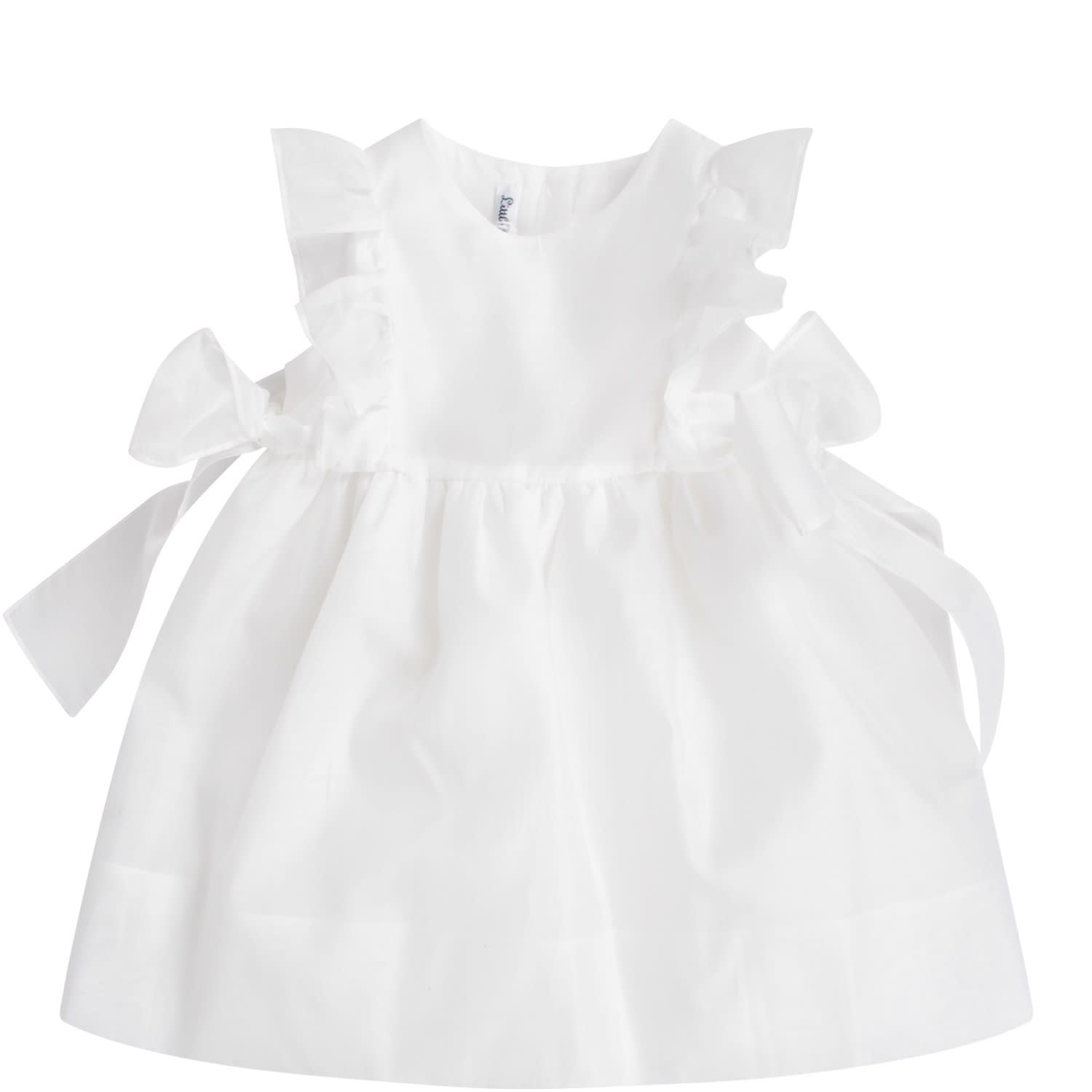 Little Bear White Babygirl Dress With Bows