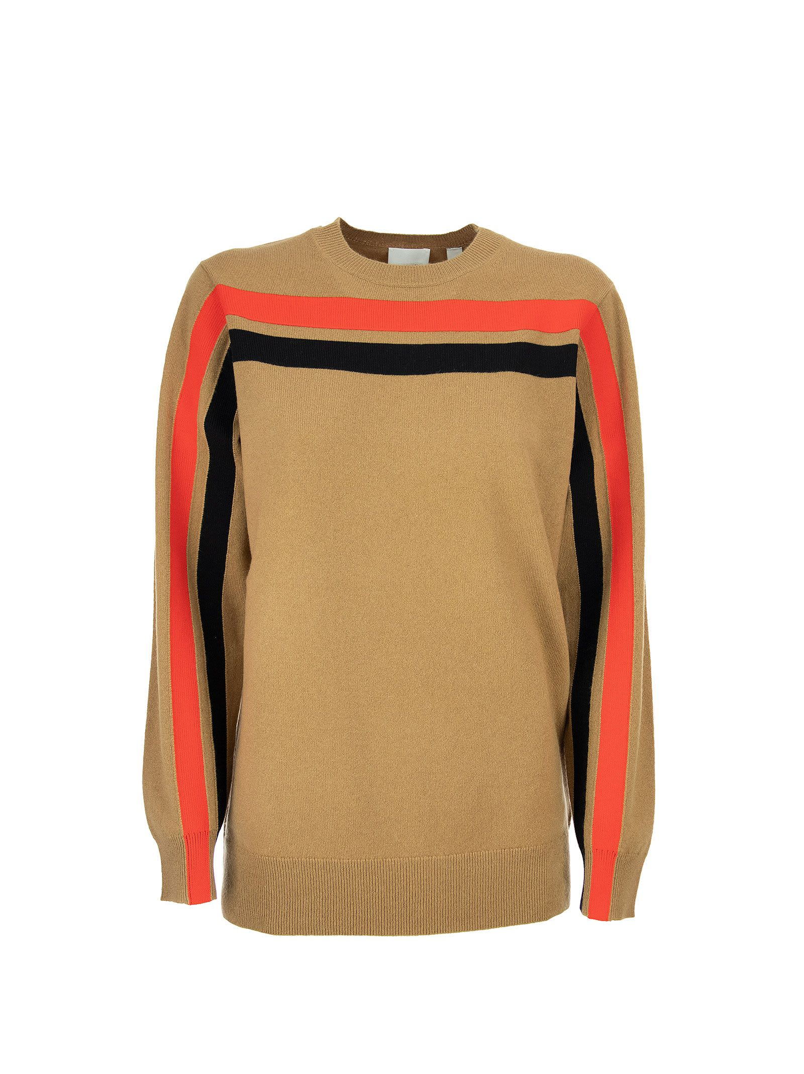 Burberry Stripe Detail Technical Cashmere Sweater Steffy Beige