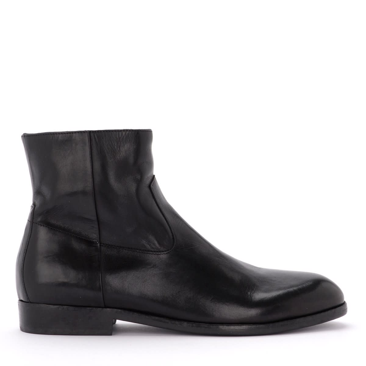 Buttero Floyd Boot In Black Leather With Side Zip Closure