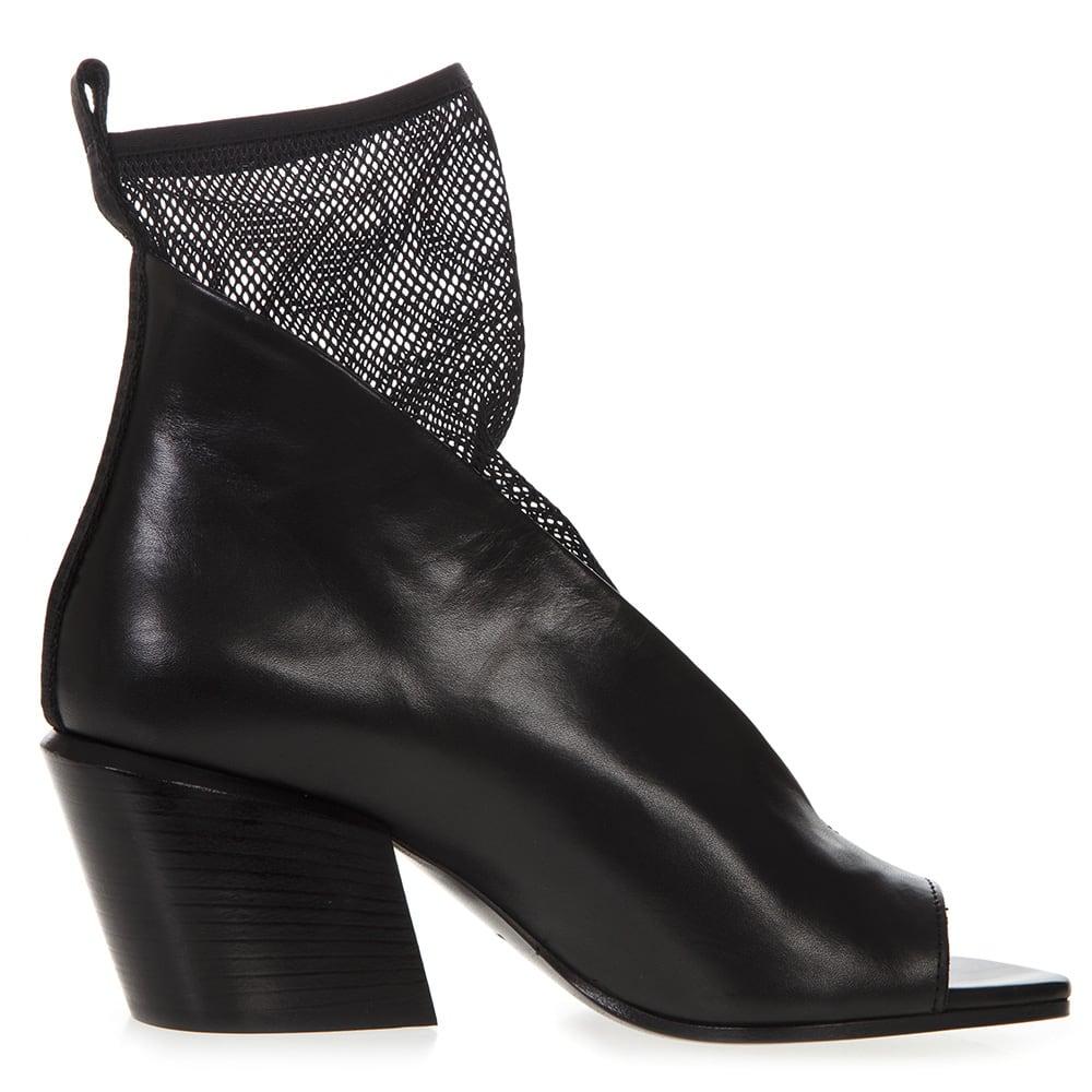 Black Leather & Mesh Ankle Sandal