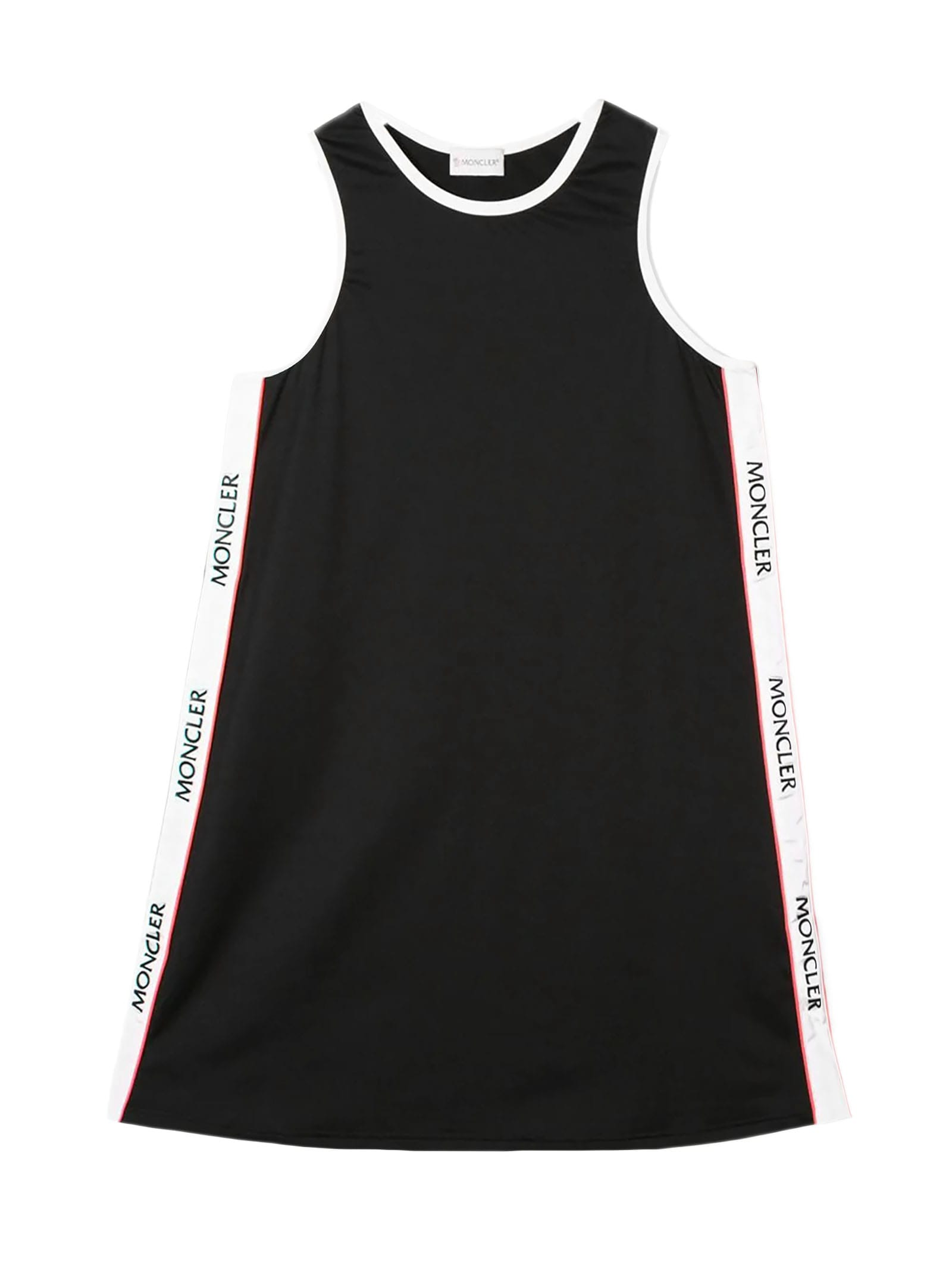 Buy Moncler Black, White And Red Logo Stripe Dress online, shop Moncler with free shipping