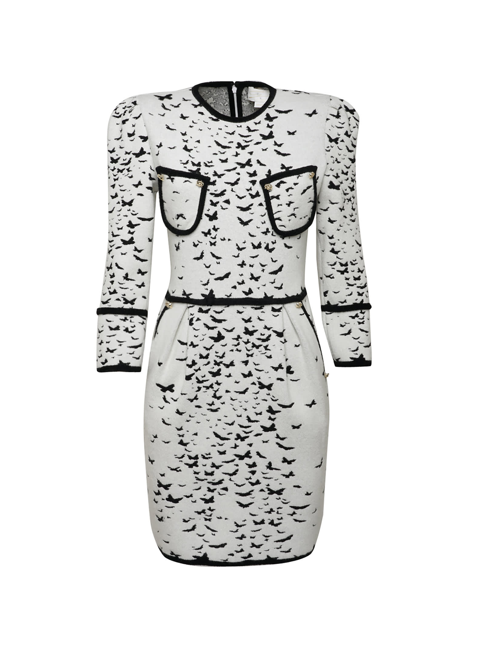White Jacquard Butterflies All-over Bodycon Dress