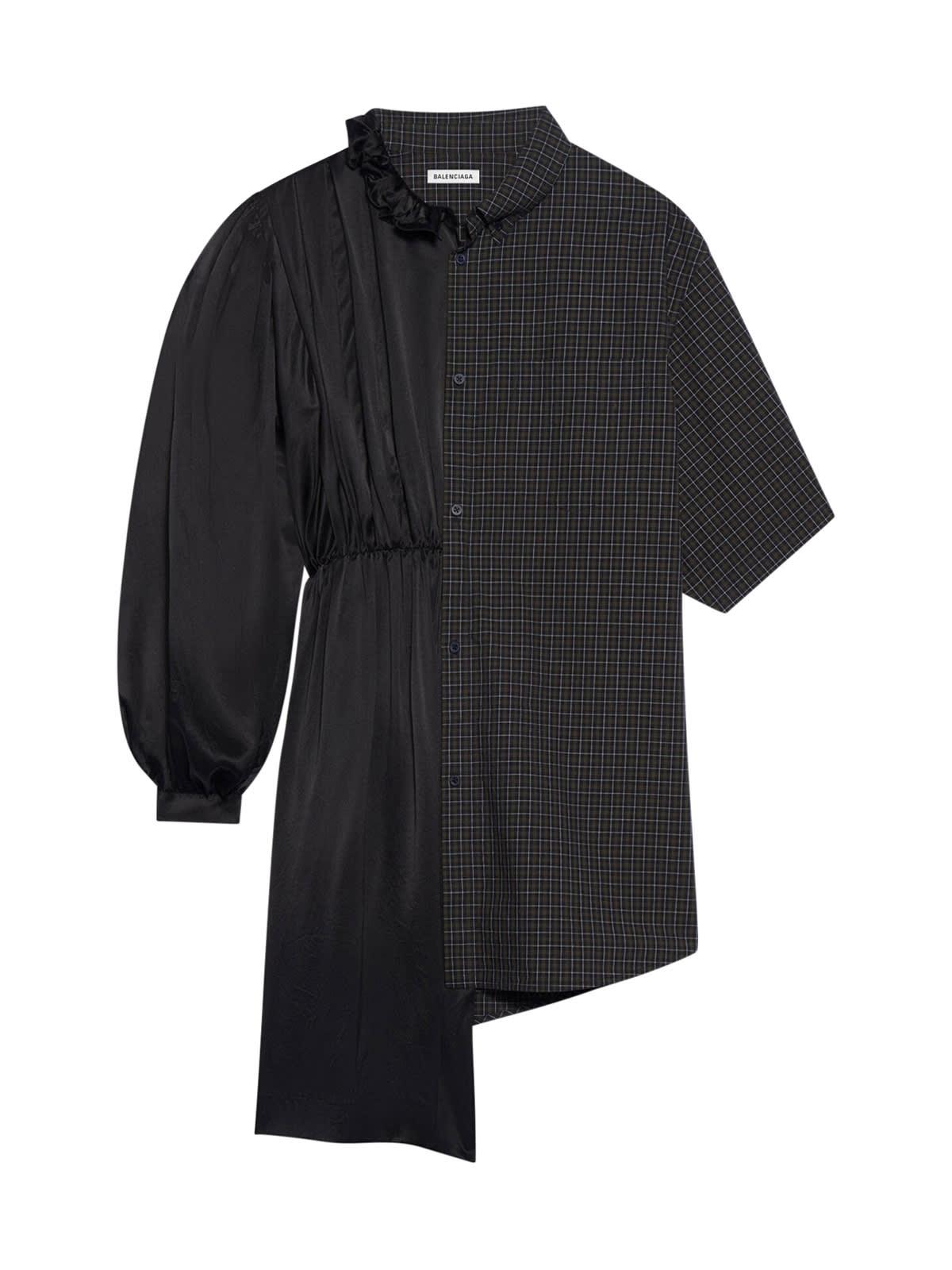 Balenciaga 50/50 Shirt Dress Micro Tartan