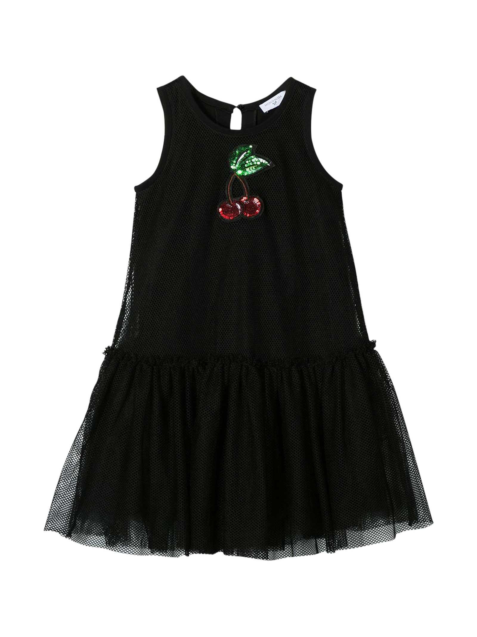 Buy Monnalisa Black Dress With Application online, shop Monnalisa with free shipping