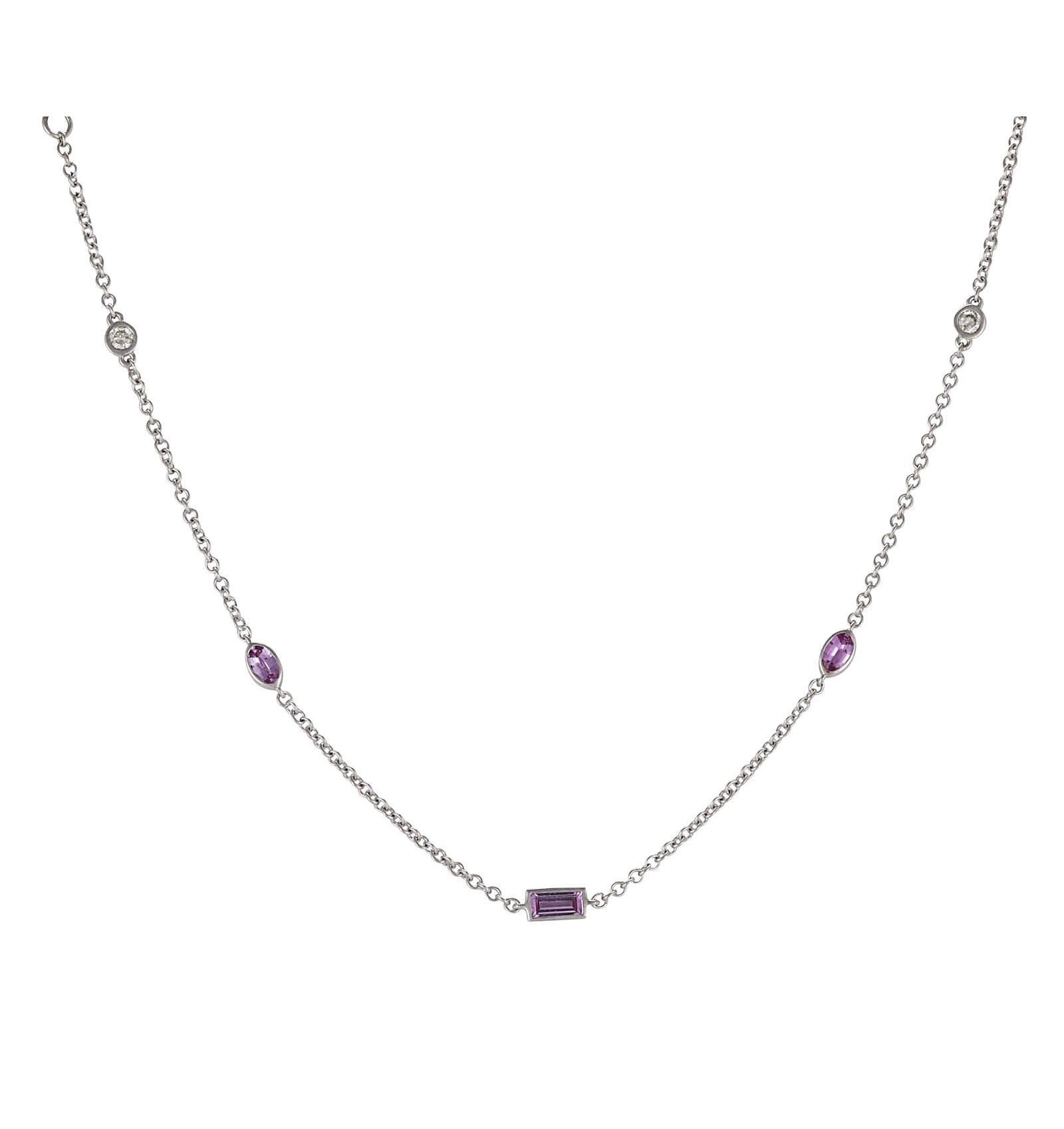 Lo Spazio Pink Sapphire and Diamond Necklace