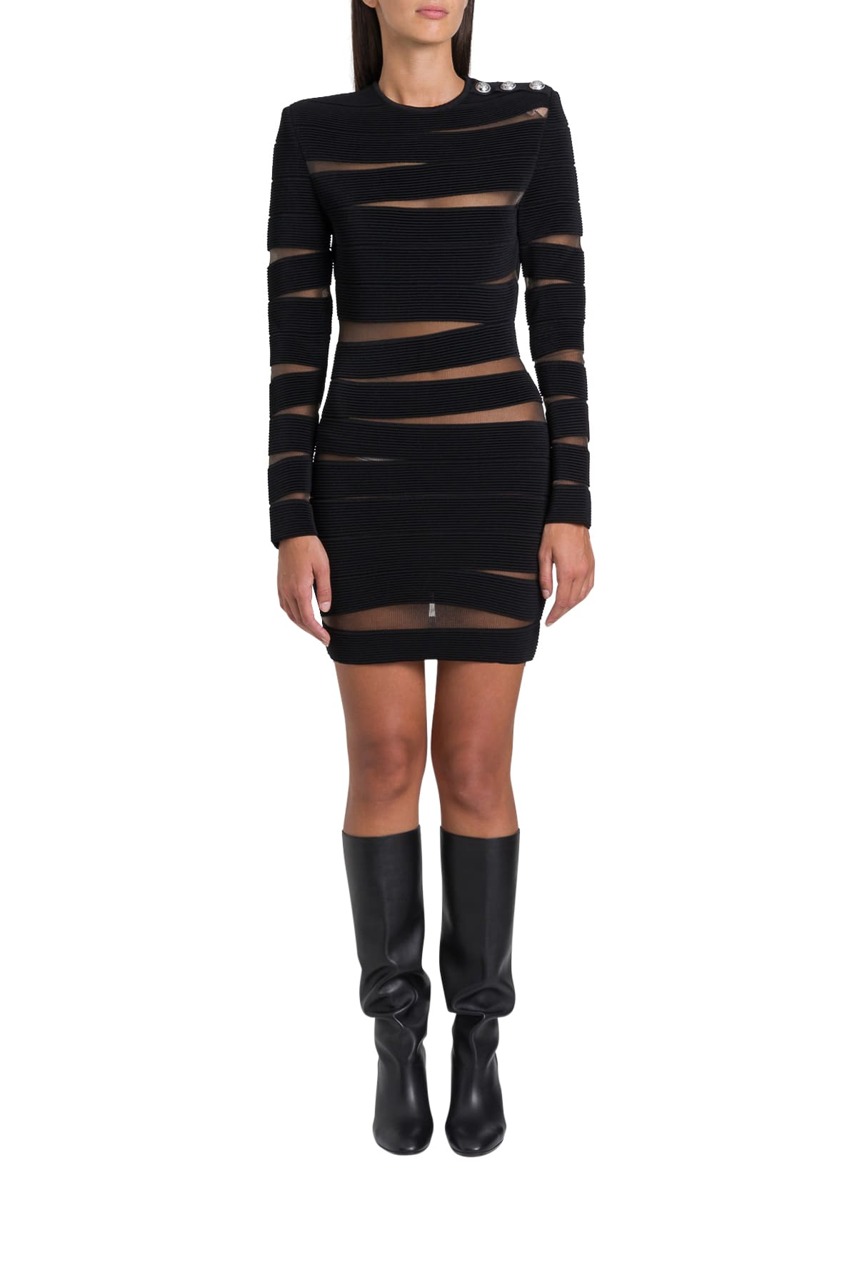 Buy Balmain Cut-out Striped Dress online, shop Balmain with free shipping
