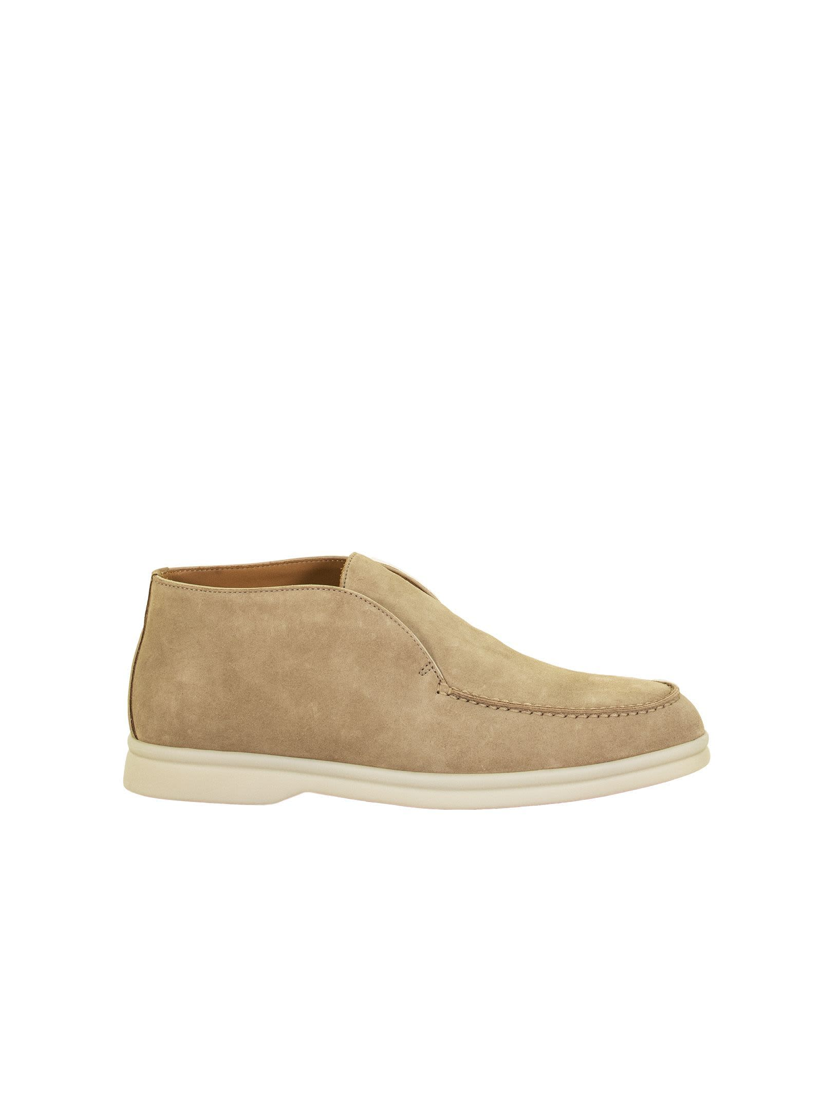 Loro Piana OPEN WALK SUEDE CALF SKIN SANDSTONE LOAFER
