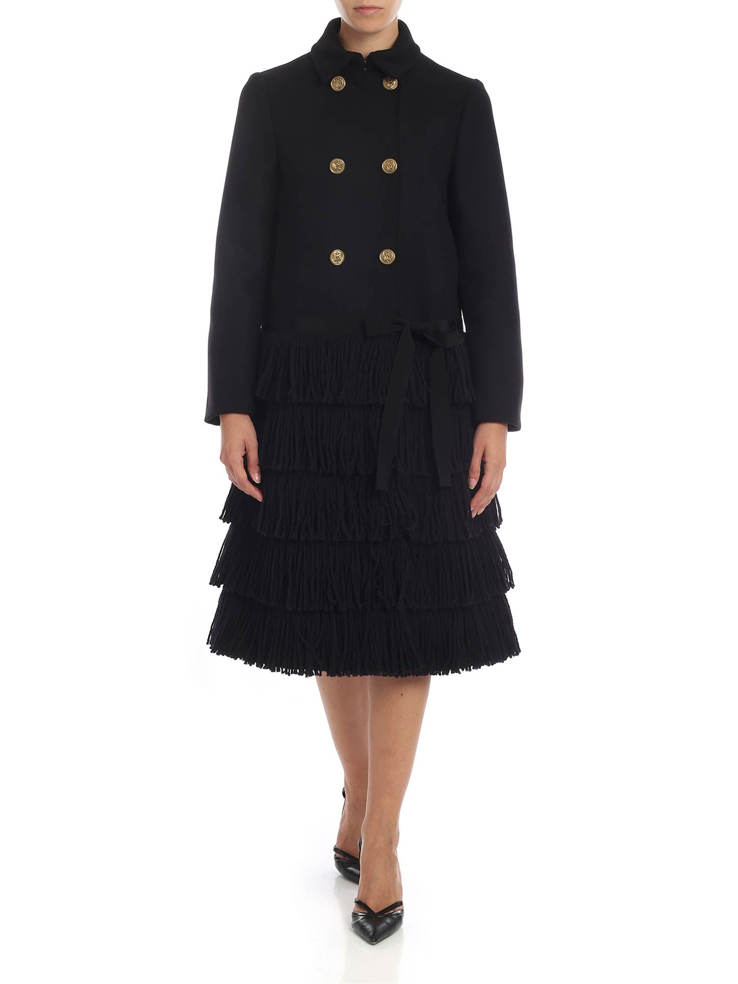 RED Valentino Fringed Wool Blend Coat
