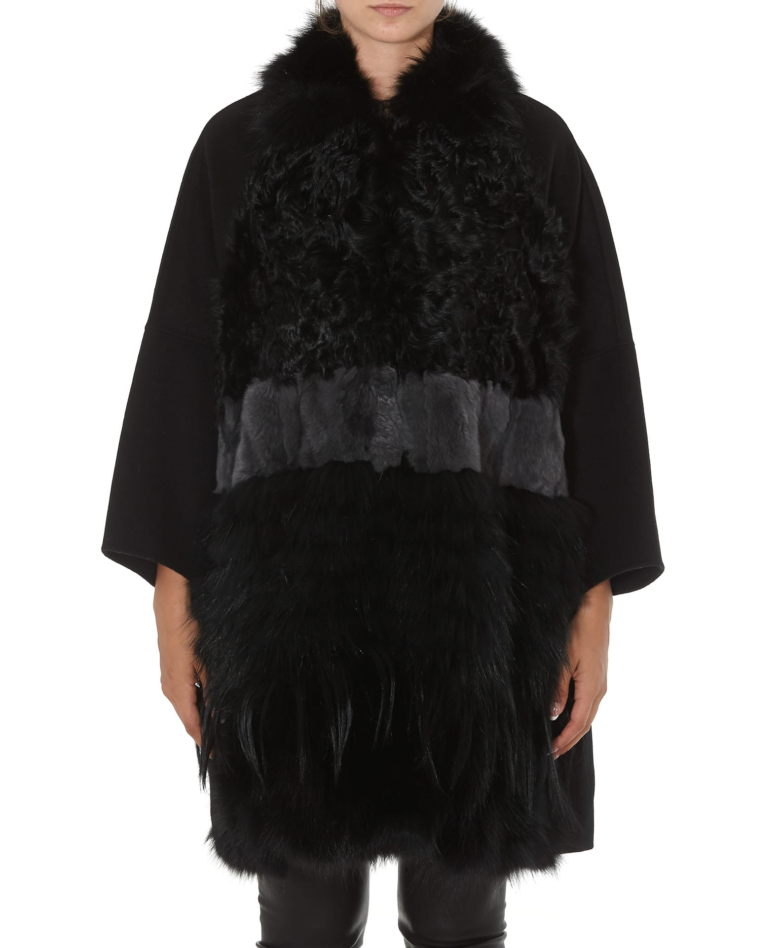 Caban Romantic Coat With Fur Details