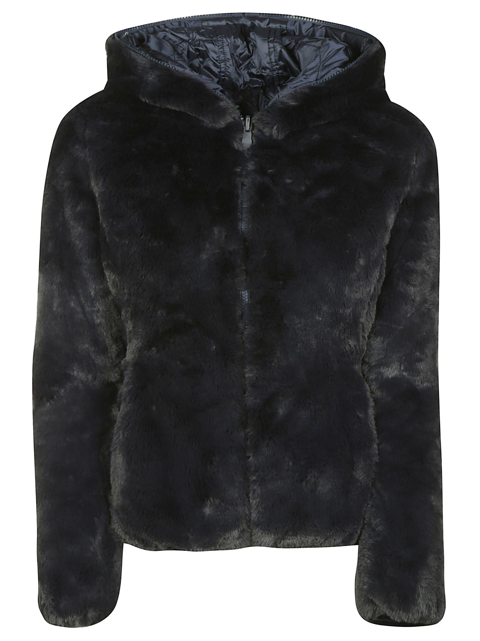 Save the Duck Fur-coated Zipped Reversible Padded Jacket