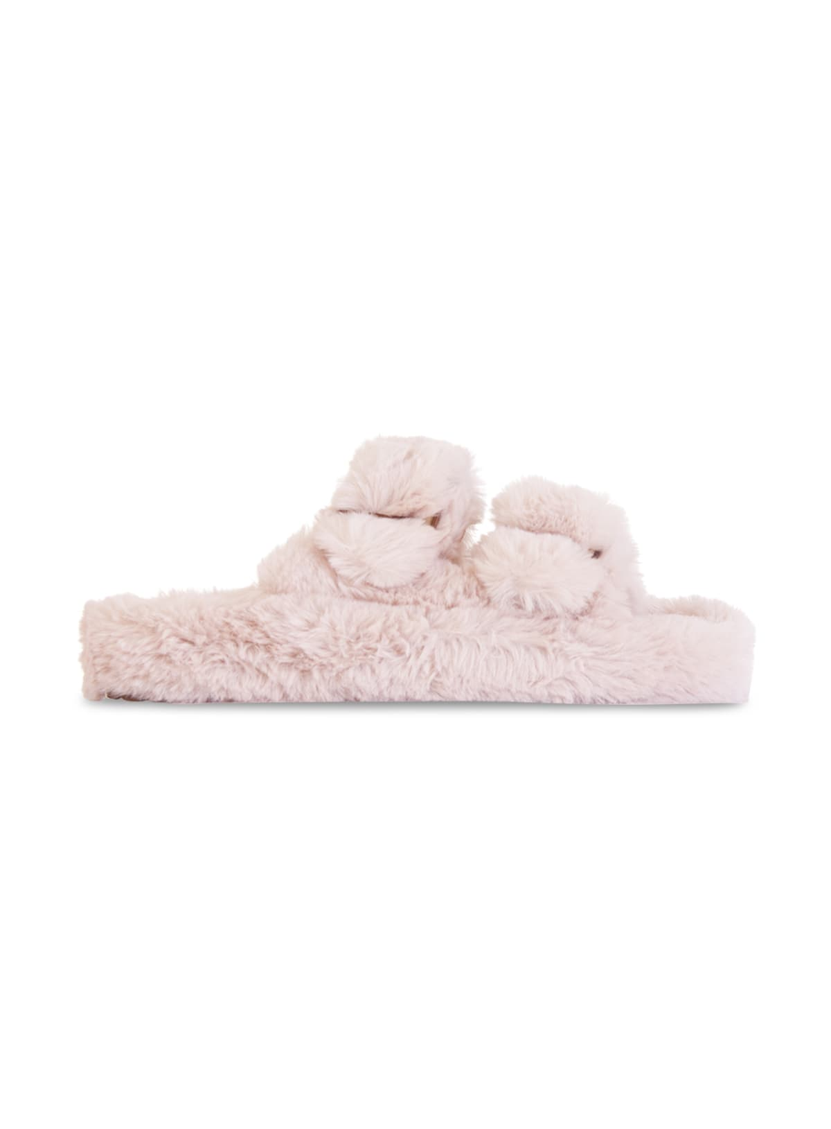 Double Band Slipper In Faux Fur With Buckles