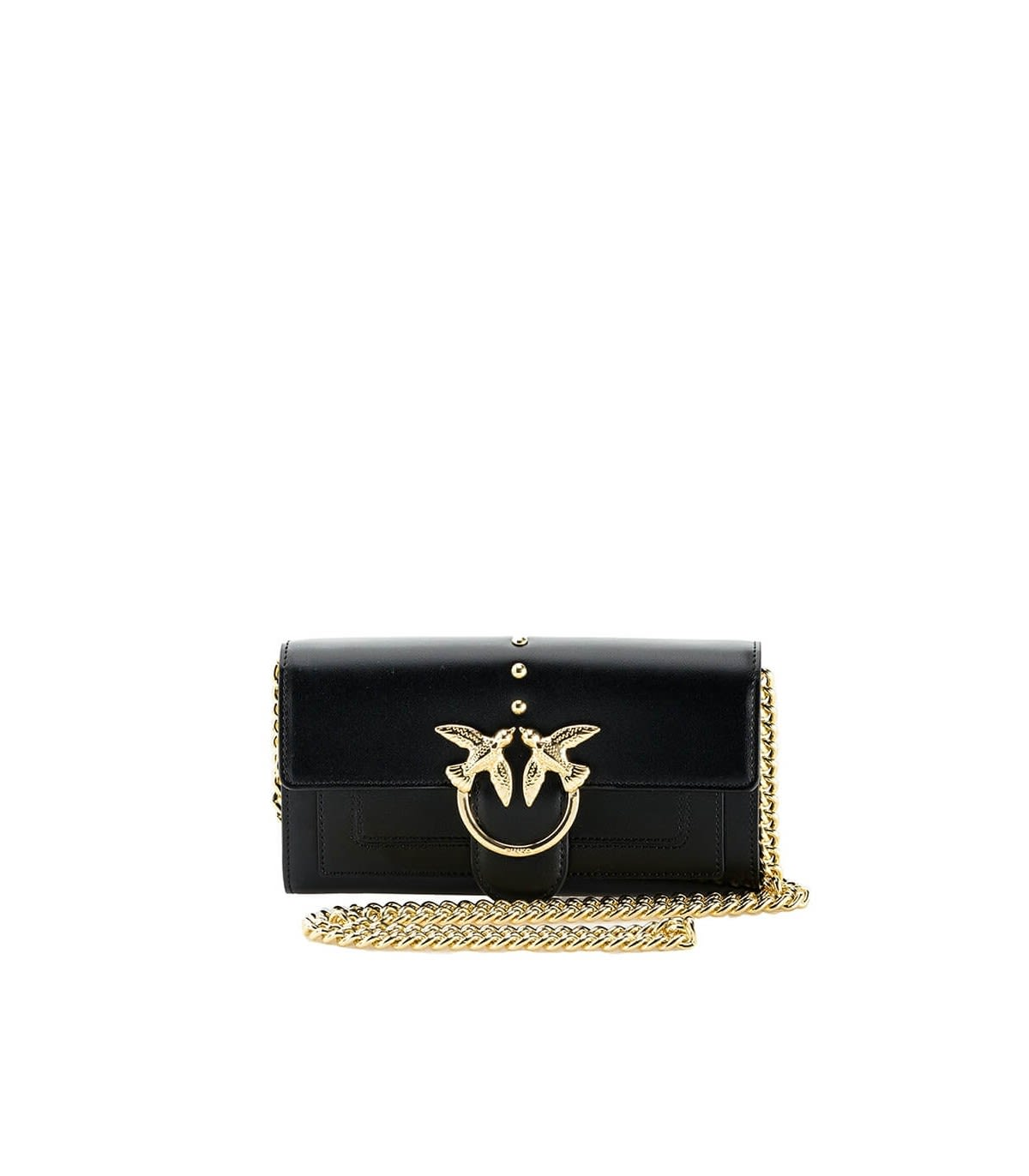 Pinko LOVE WALLET SIMPLY 2 C BLACK WALLET WITH CHAIN