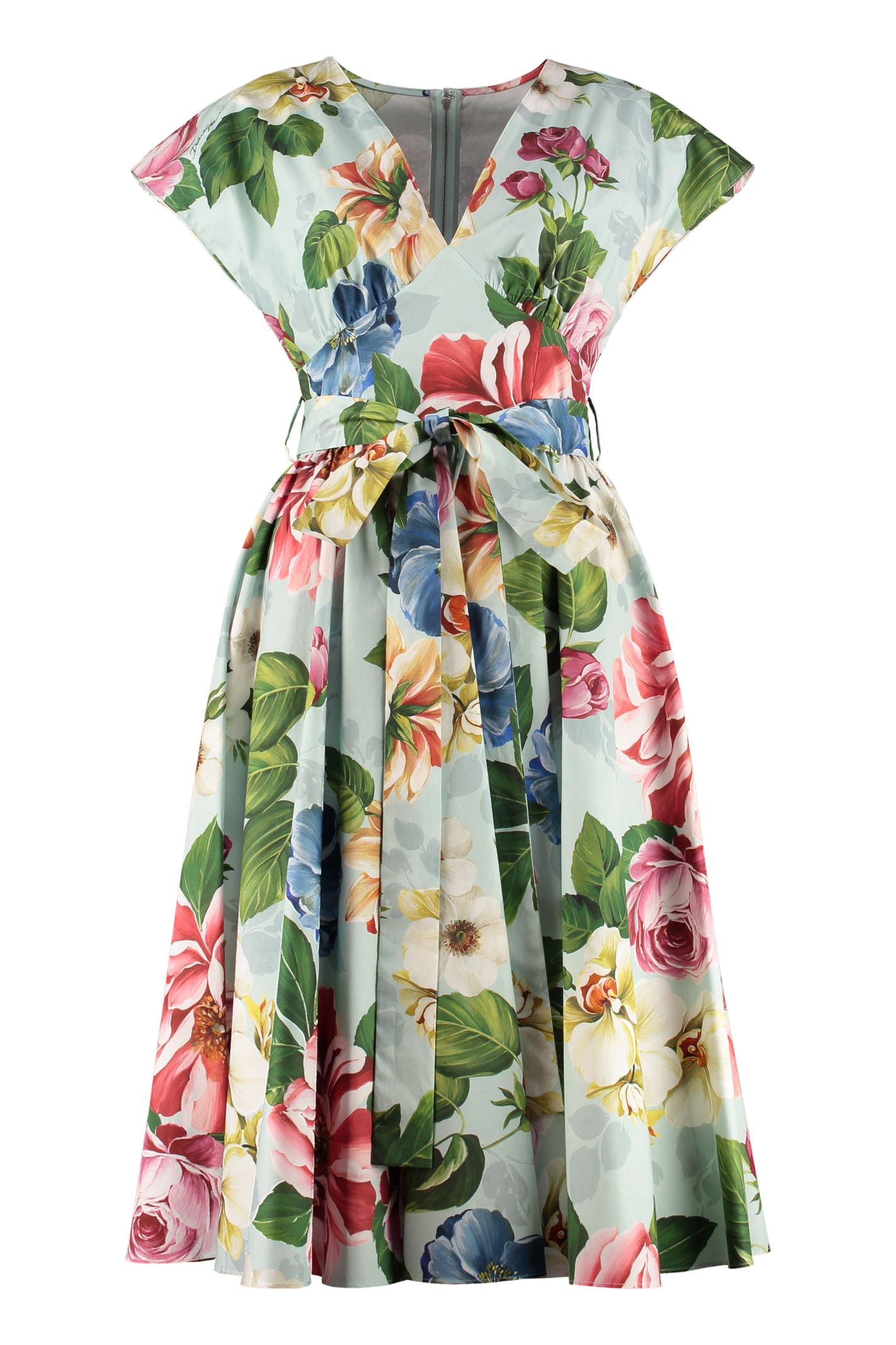 Buy Dolce & Gabbana Midi Dress With Belt online, shop Dolce & Gabbana with free shipping