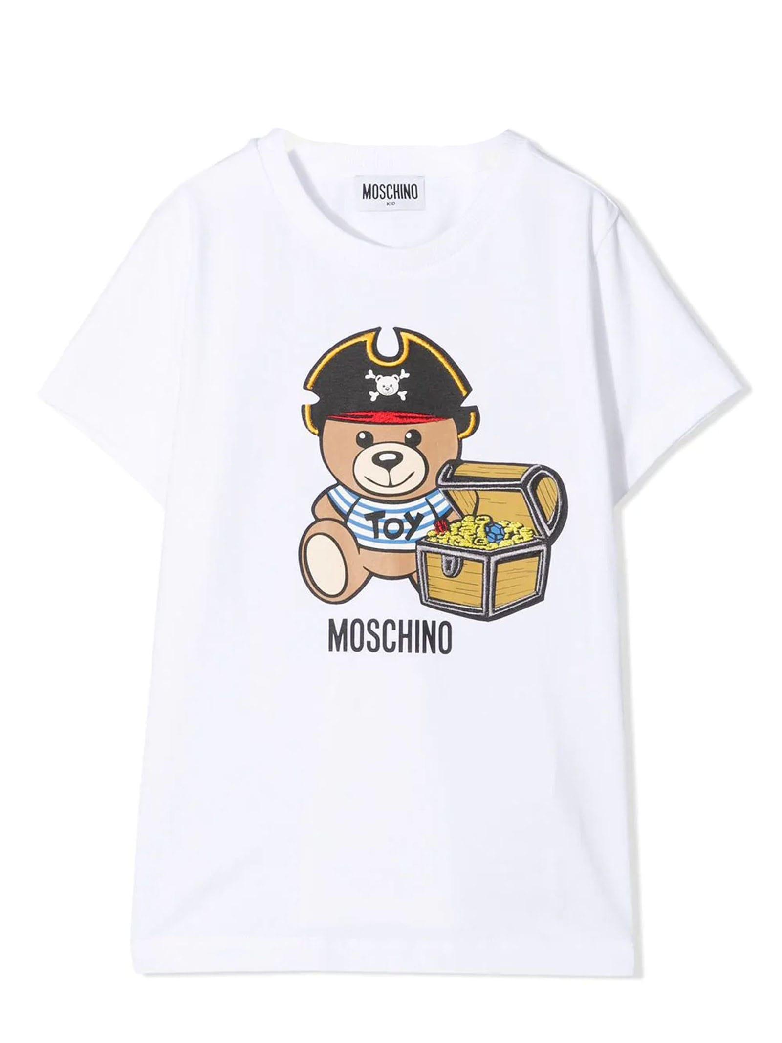 Moschino WHITE STRETCH-COTTON T-SHIRT