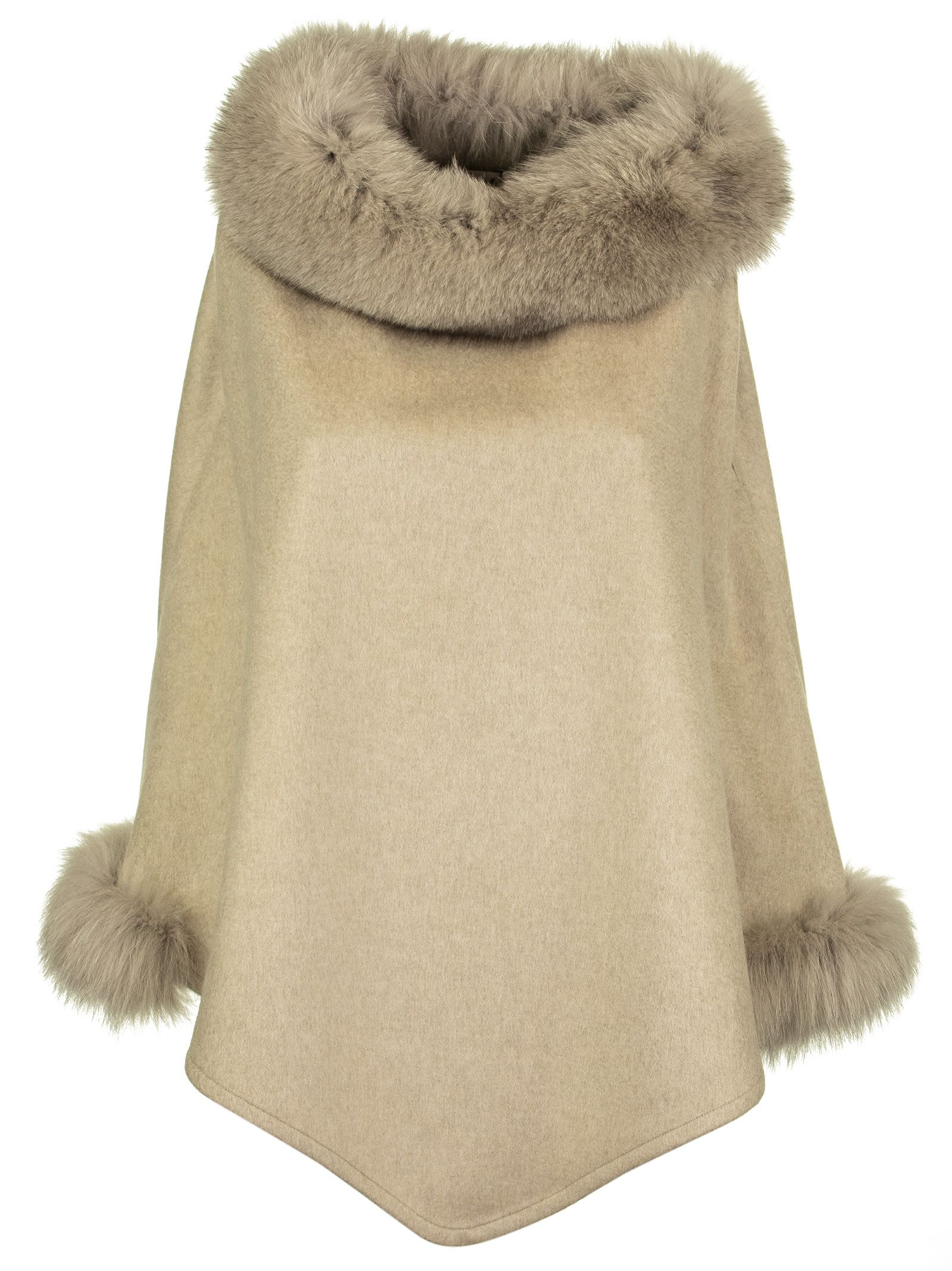 Max Mara Wskit Poncho In Cashmere And Fox Mink