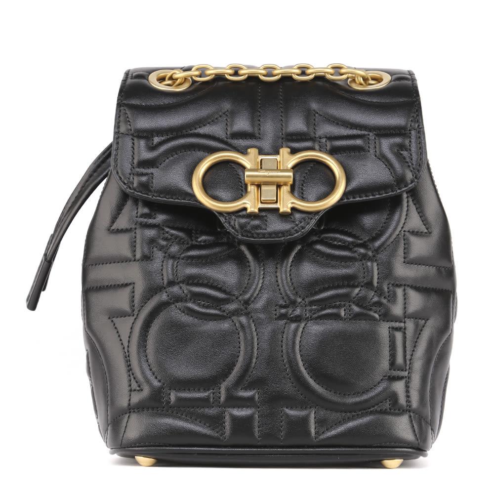 Salvatore Ferragamo Black Gancini Leather Backpack