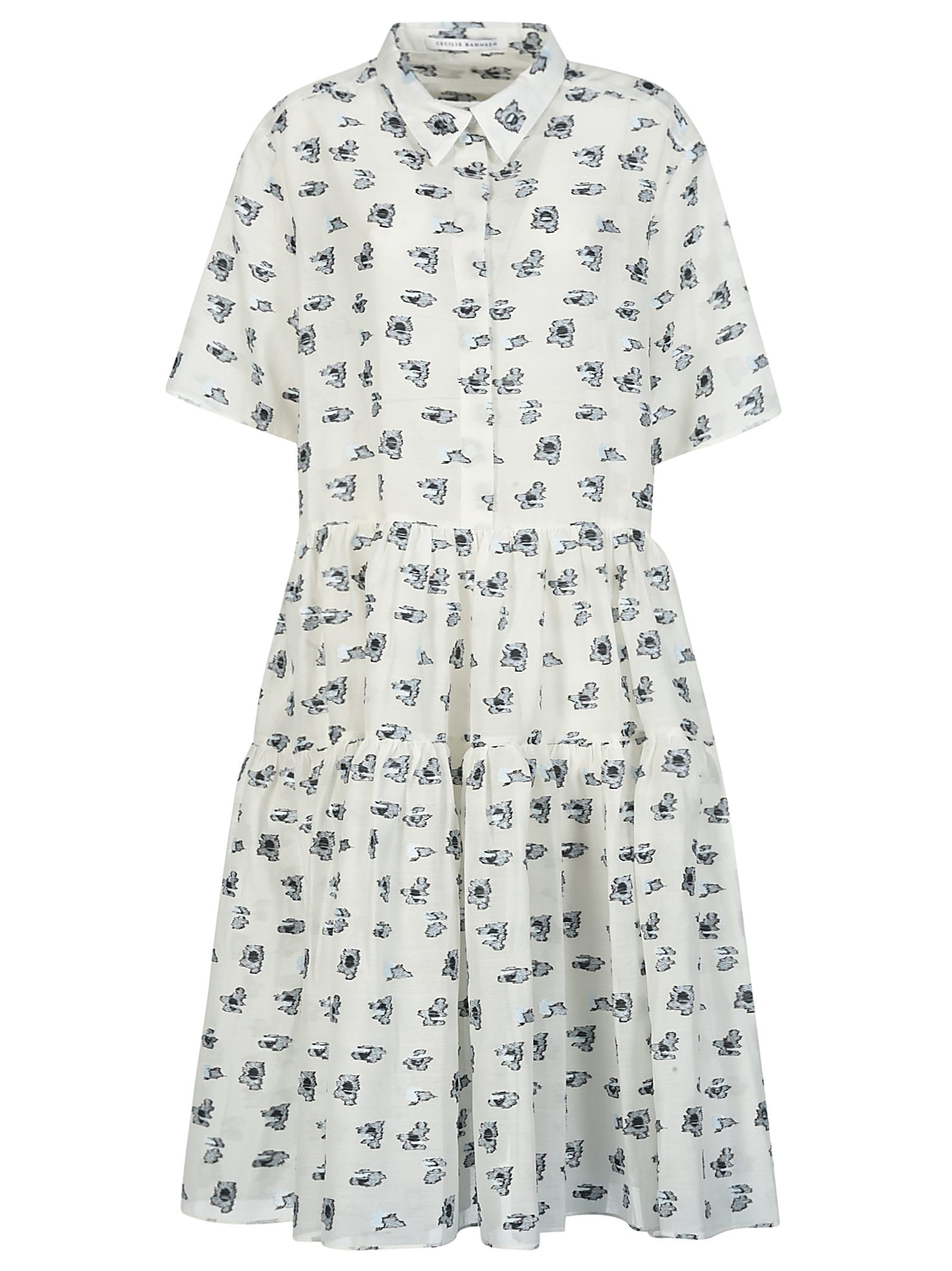 Buy Cecilie Bahnsen Short-sleeve Motif Print Dress online, shop Cecilie Bahnsen with free shipping