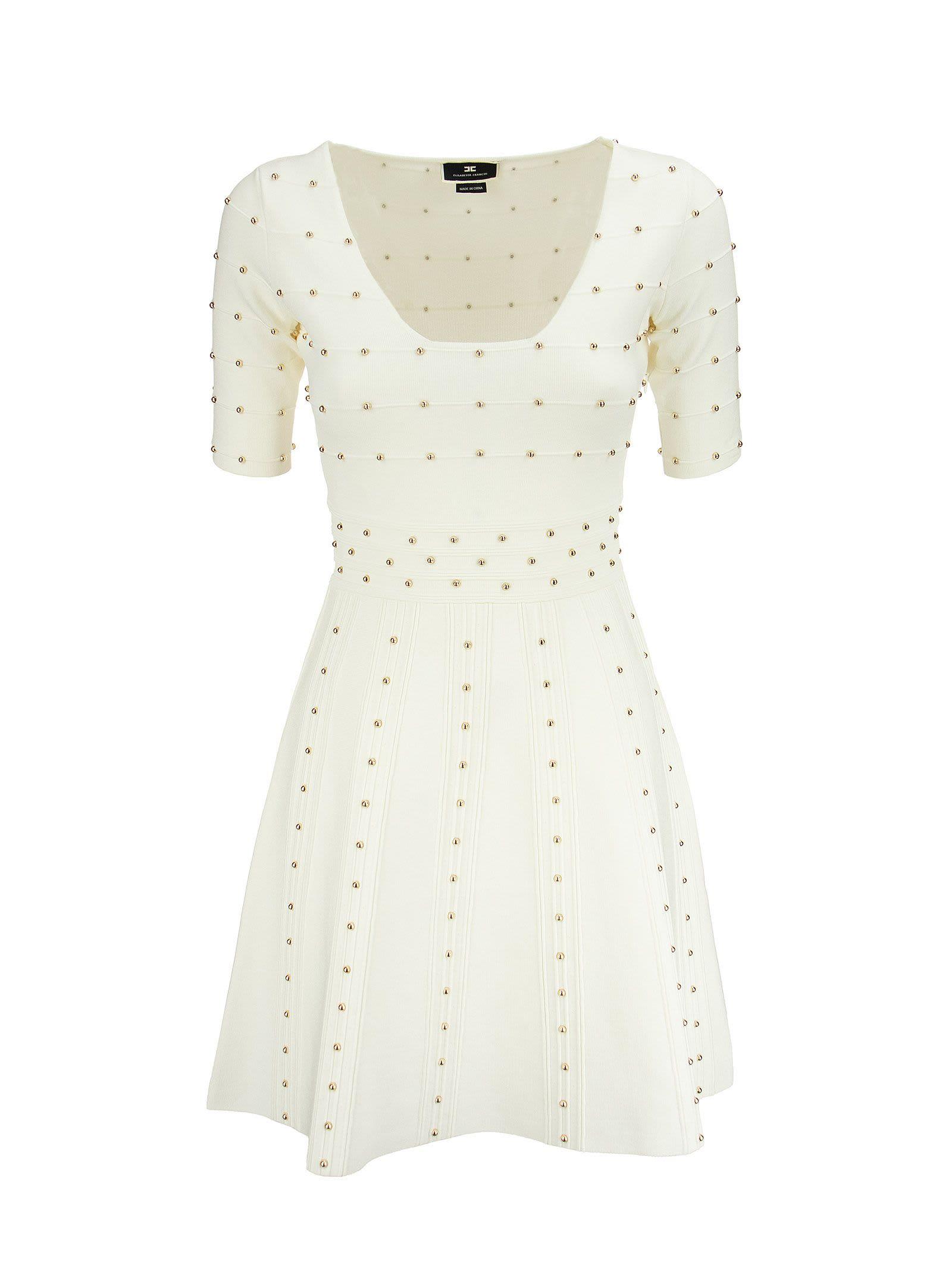 Buy Elisabetta Franchi Knit Mini Dress With Small Studs online, shop Elisabetta Franchi with free shipping