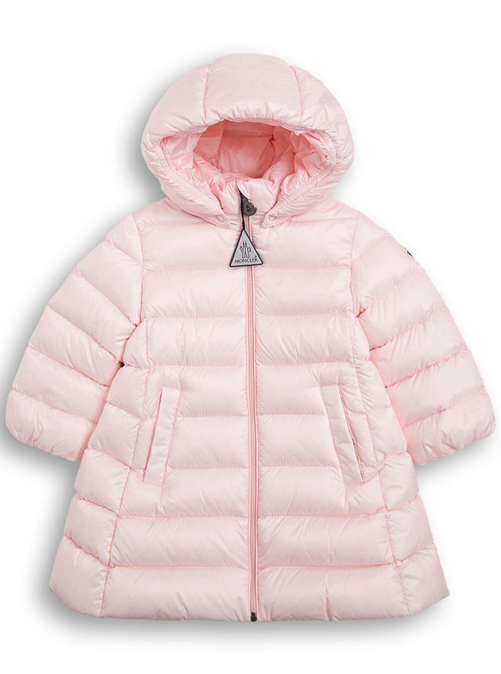 Moncler Majeure Long Down Jacket In Pink Nylon