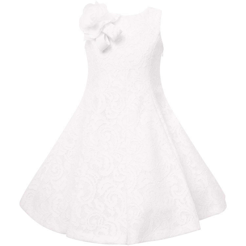 Loredana Ivory Girl Dress With Flower Pin