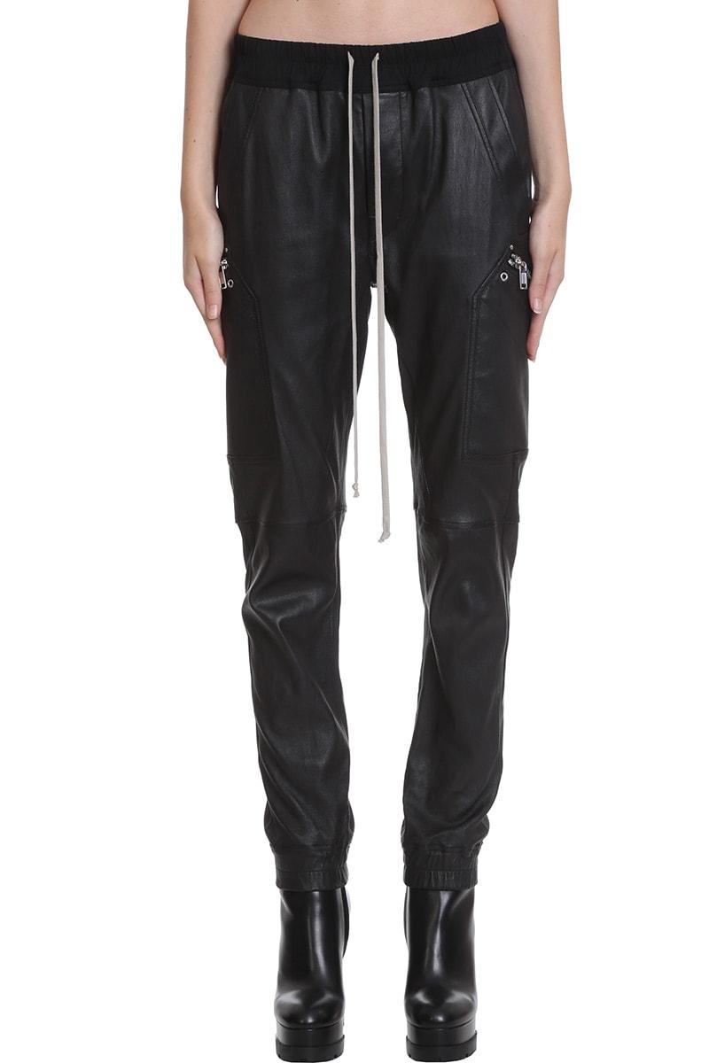 Rick Owens Cargo Jog Pants In Black Leather