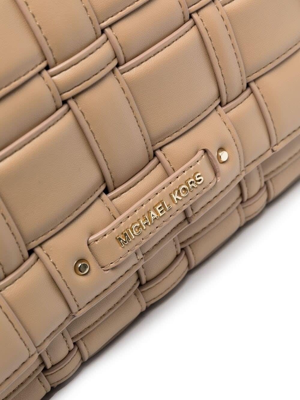 Michael Michael Kors Clutches IVY CROSSBODY BAG IN BEIGE QUILTED LEATHER