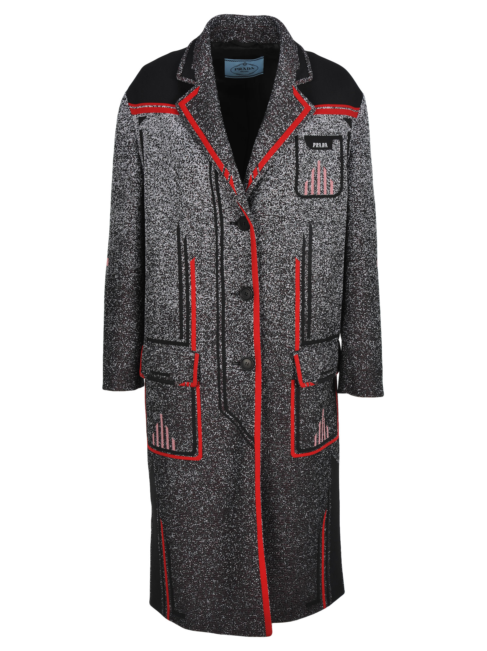 Prada Prada Technical Mouliné Jacquard Coat