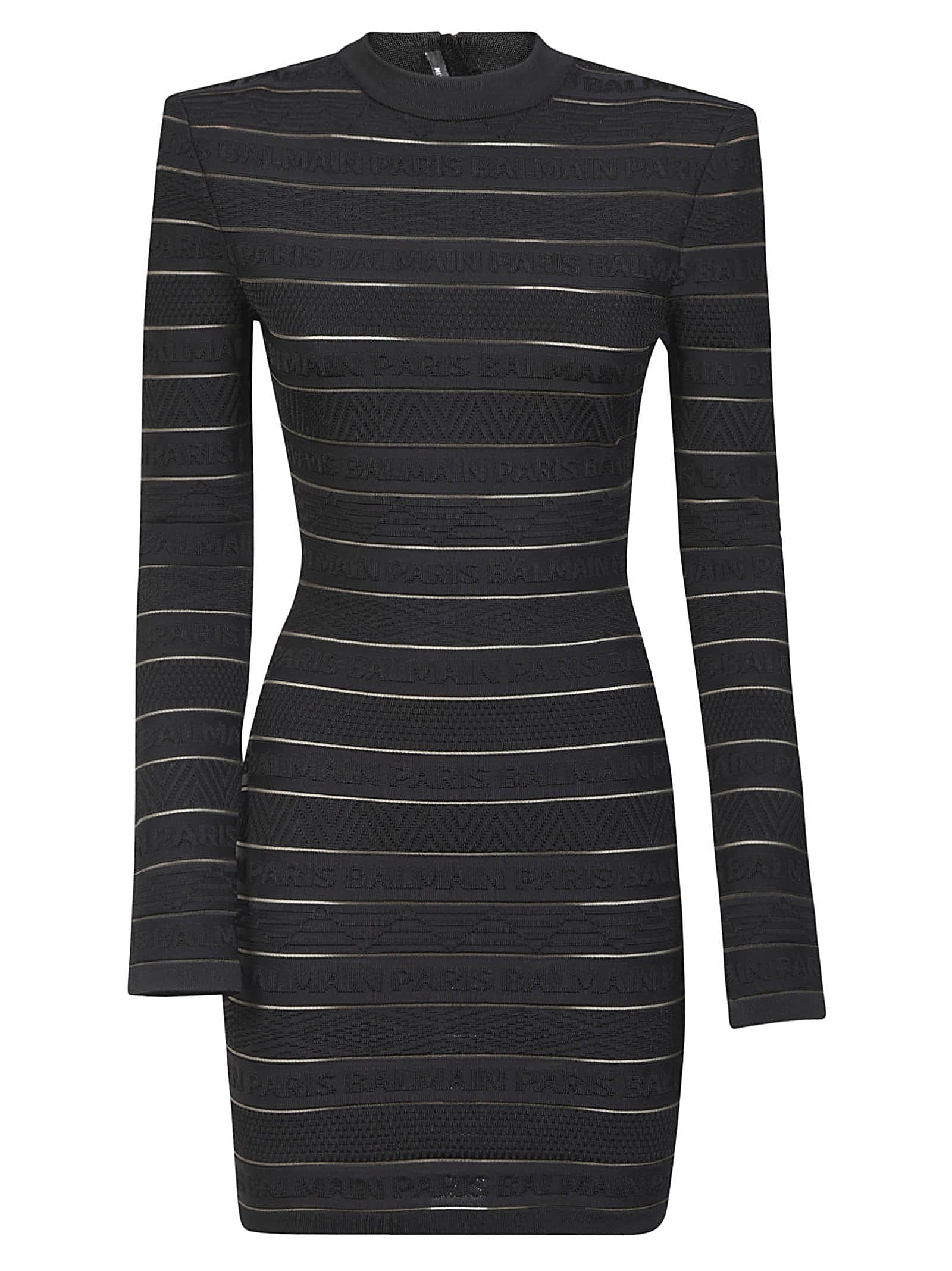 Buy Balmain Rear Zip Striped Dress online, shop Balmain with free shipping