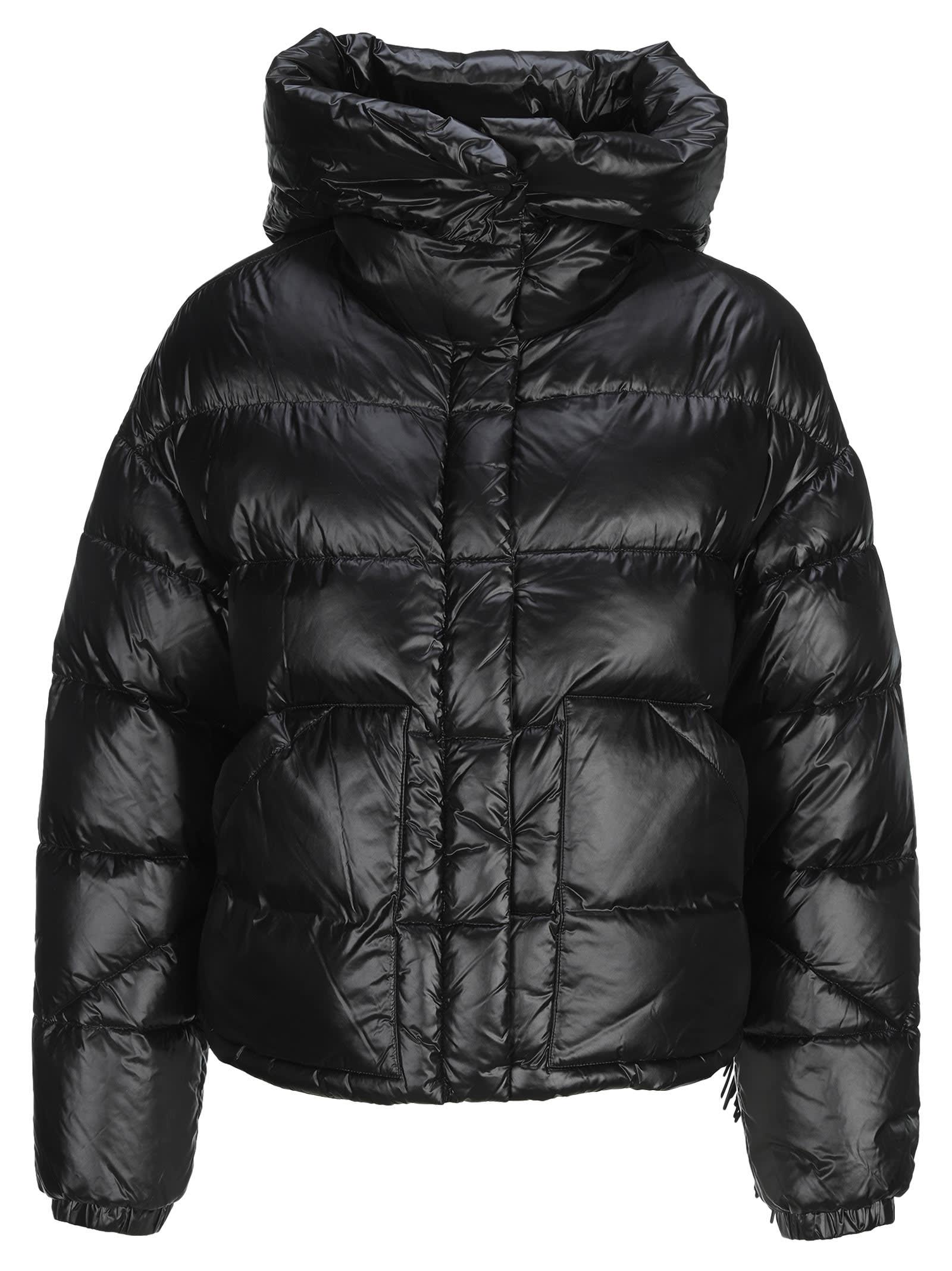 Down Hooded Jacket With Fringe Detailing