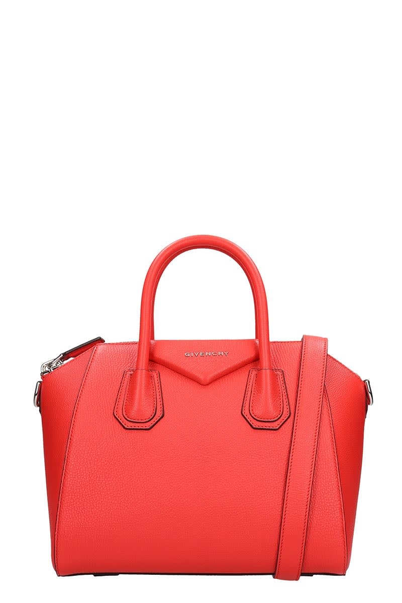 Givenchy Antigona Media Hand Bag In Red Leather