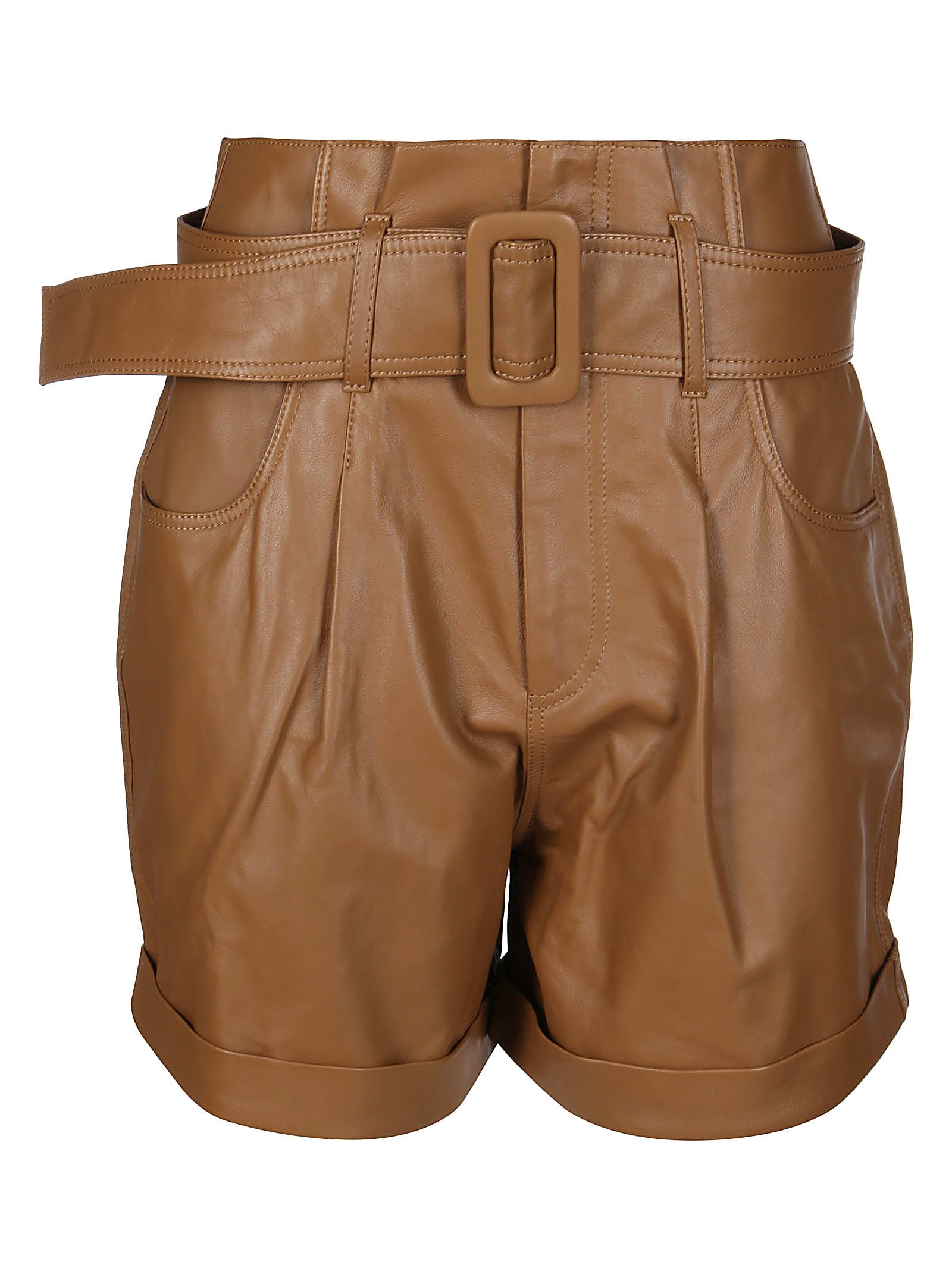 Federica Tosi Clothing SHORTS IN PELLE MARRONE