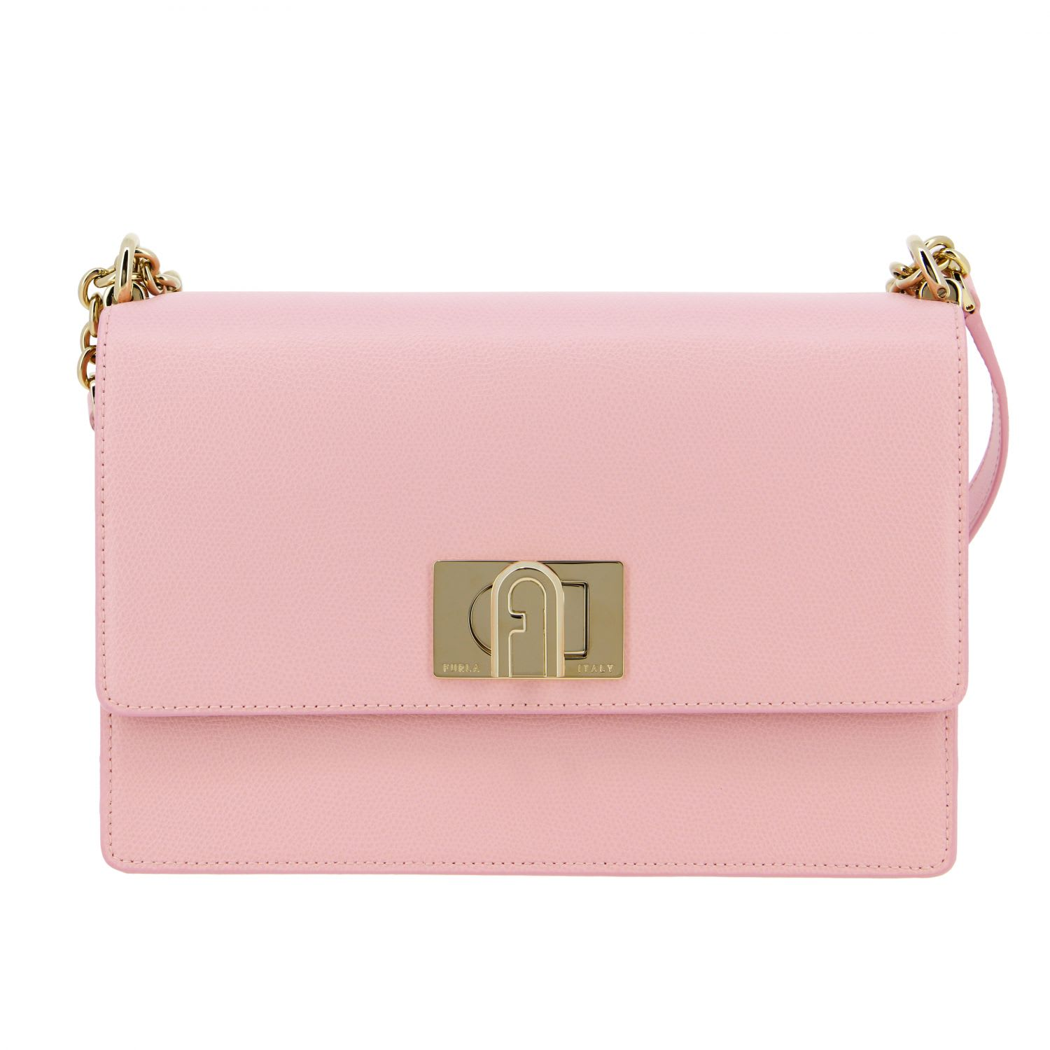 Furla 1927 Shoulder Bag In Textured Leather In Pink