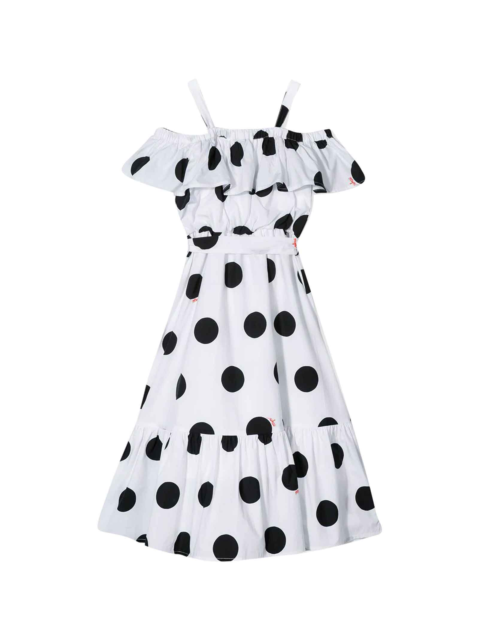 Buy MSGM White Flared Polka-dot Dress online, shop MSGM with free shipping