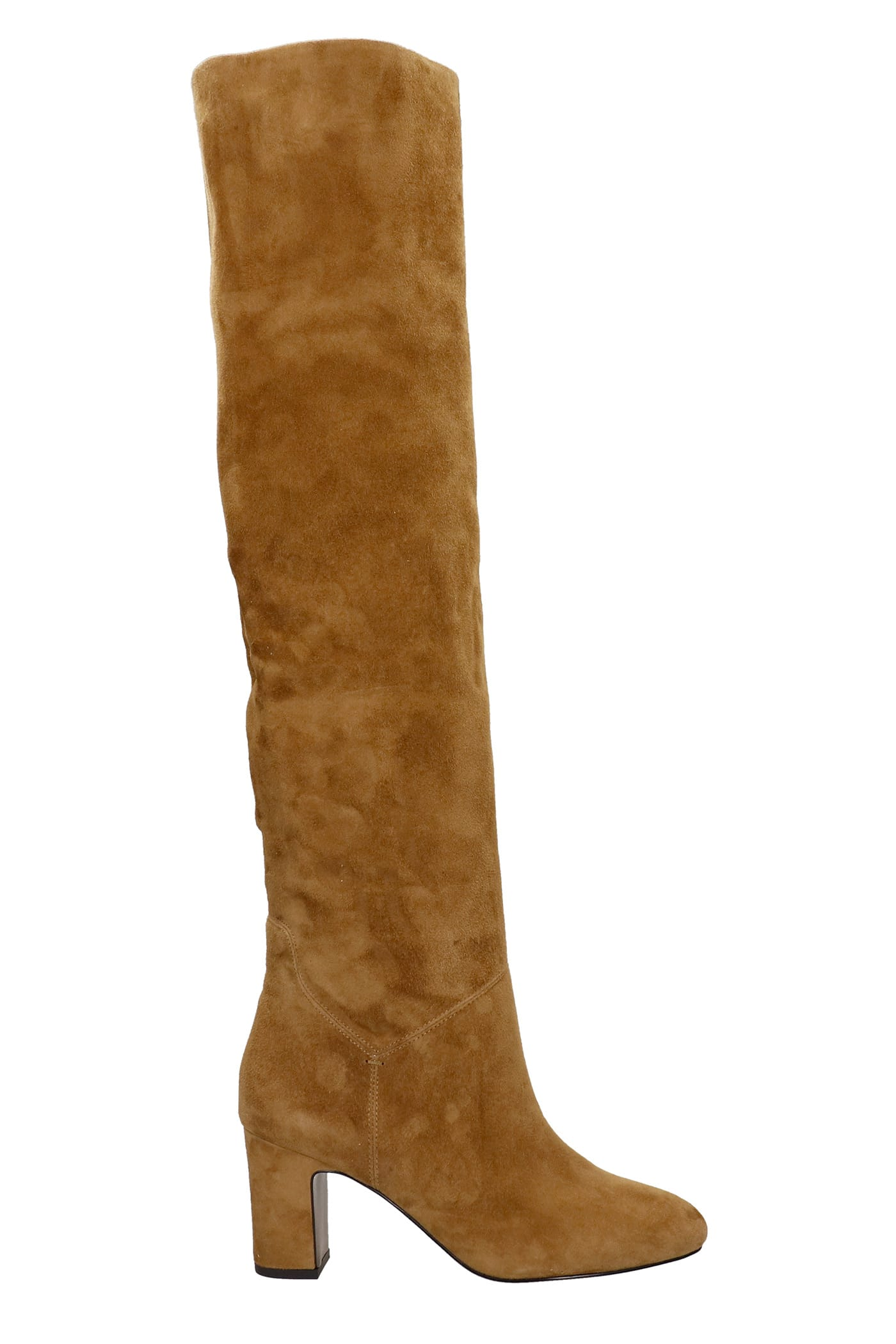 High Heels Boots In Leather Color Suede