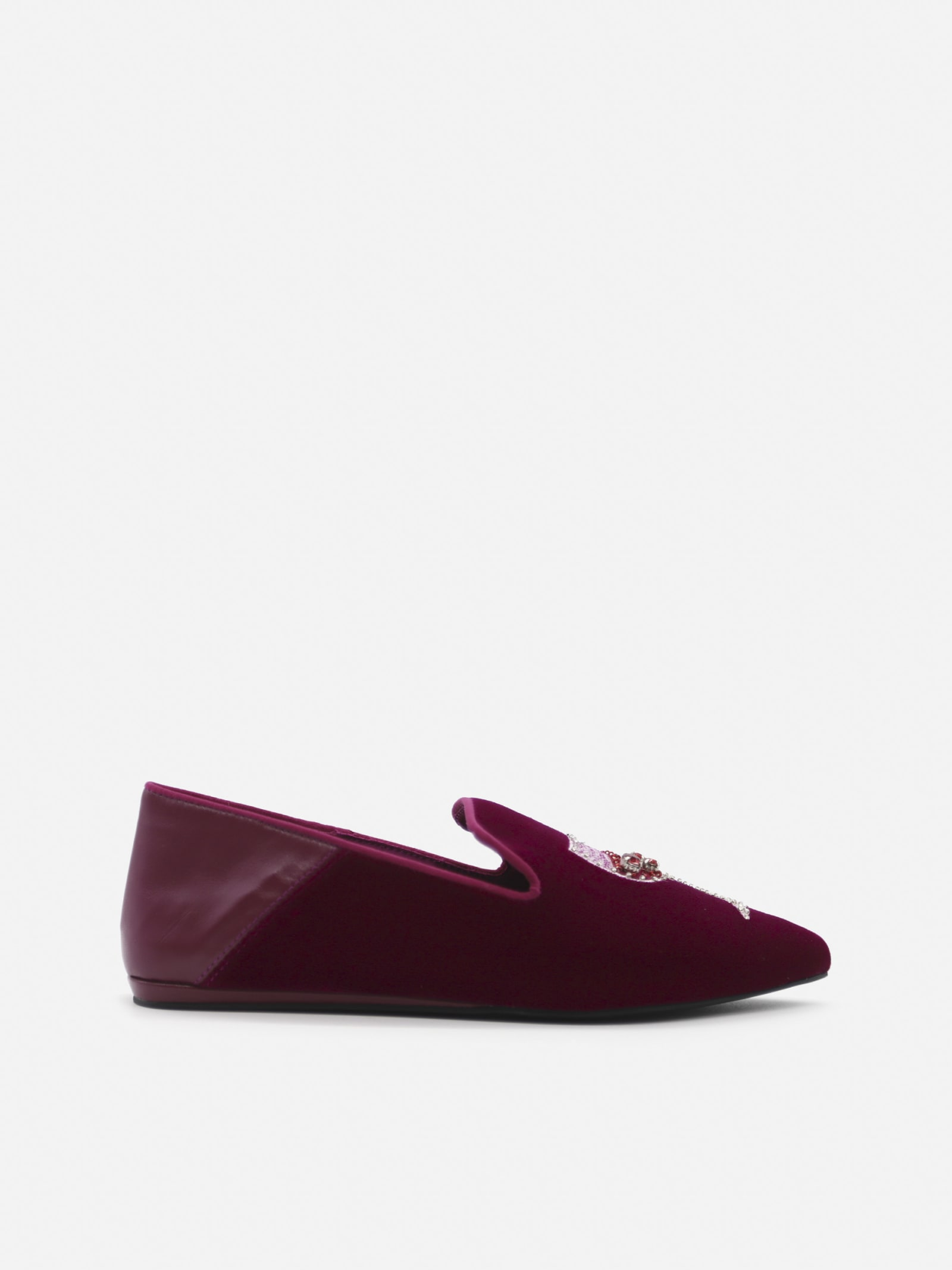 Velvet Loafers With Embroidery And Beads