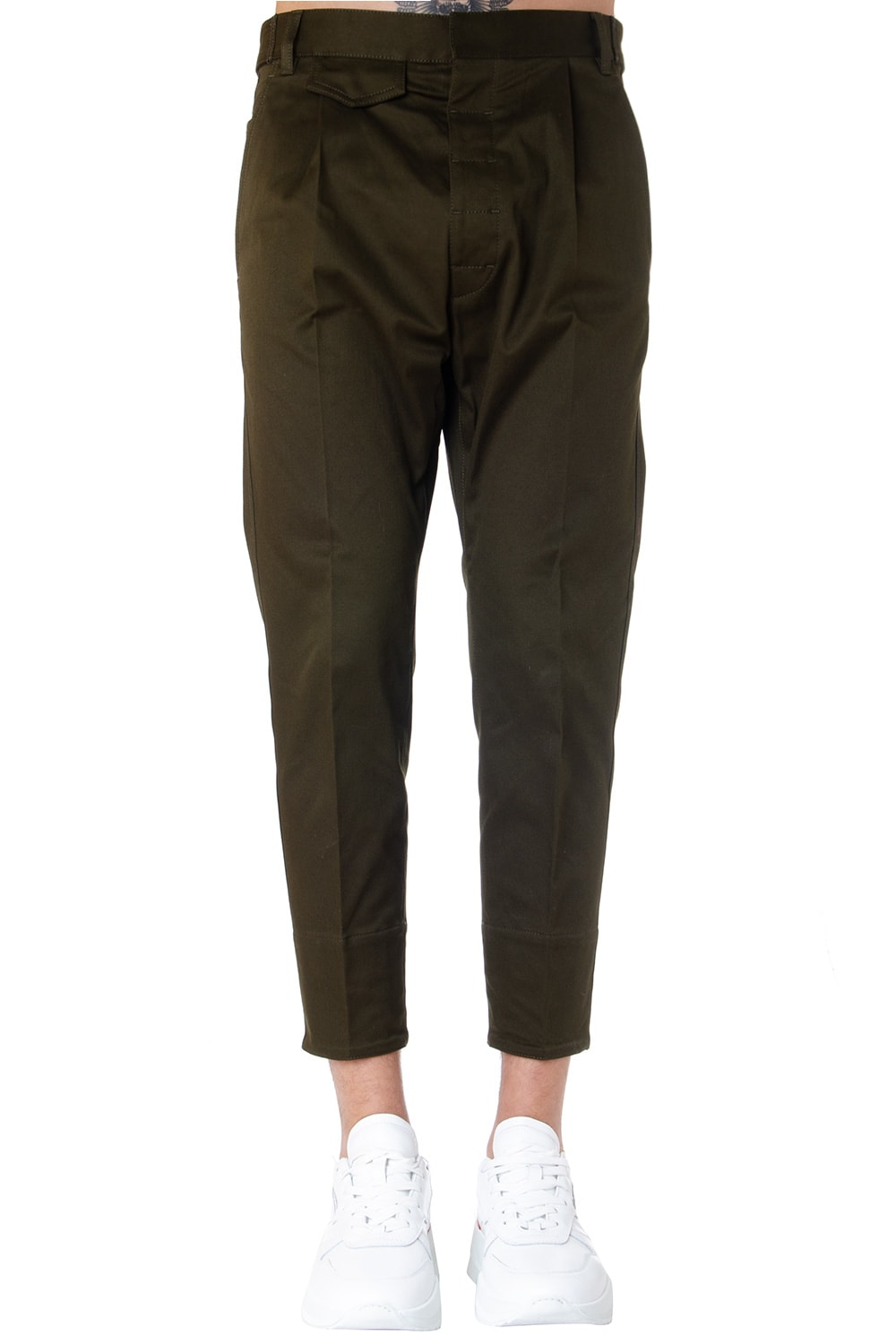 Dsquared2 Green Cotton Cropped Pants