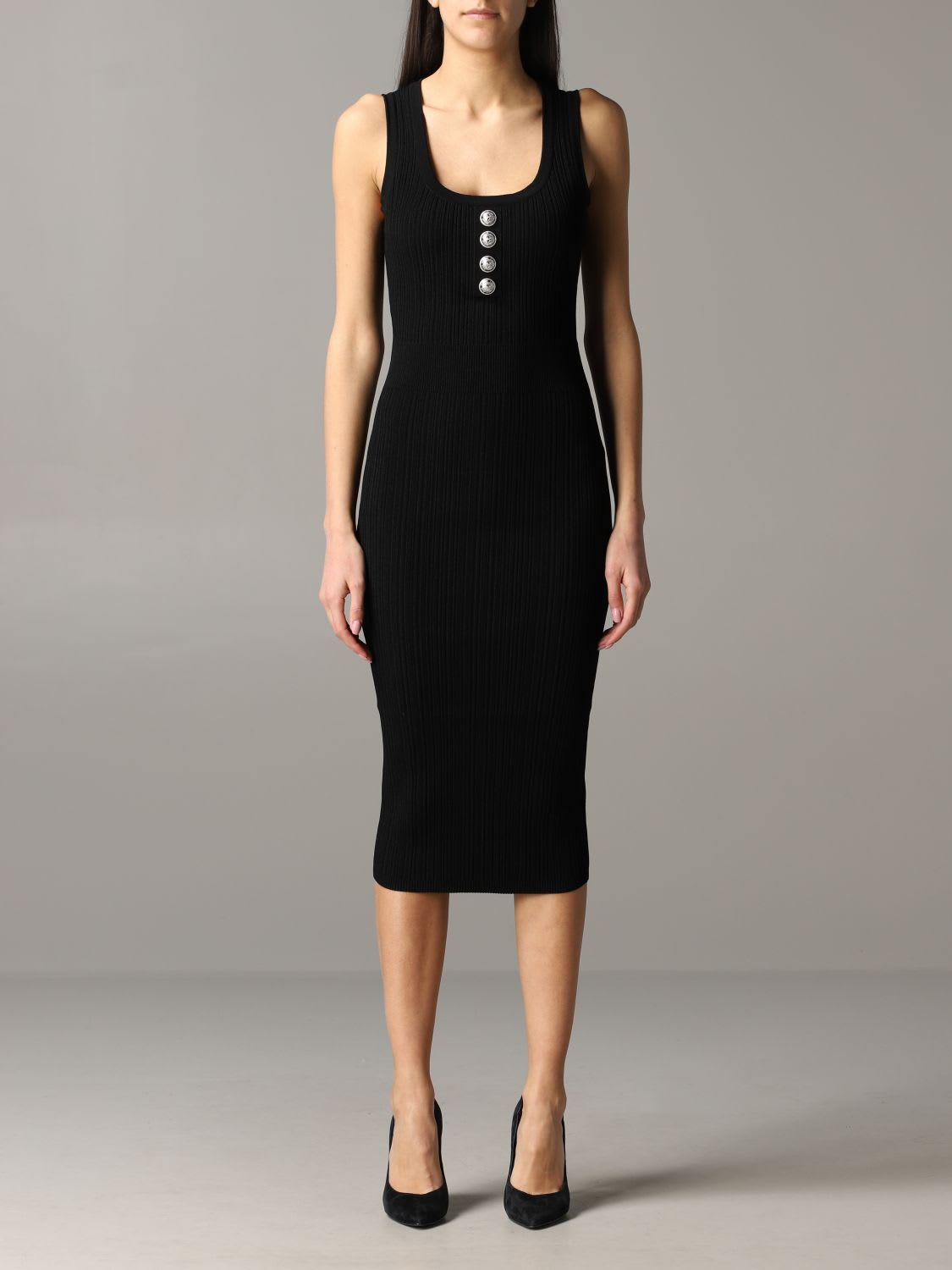 Buy Balmain Dress Balmain Sheath Dress With Jewel Buttons online, shop Balmain with free shipping
