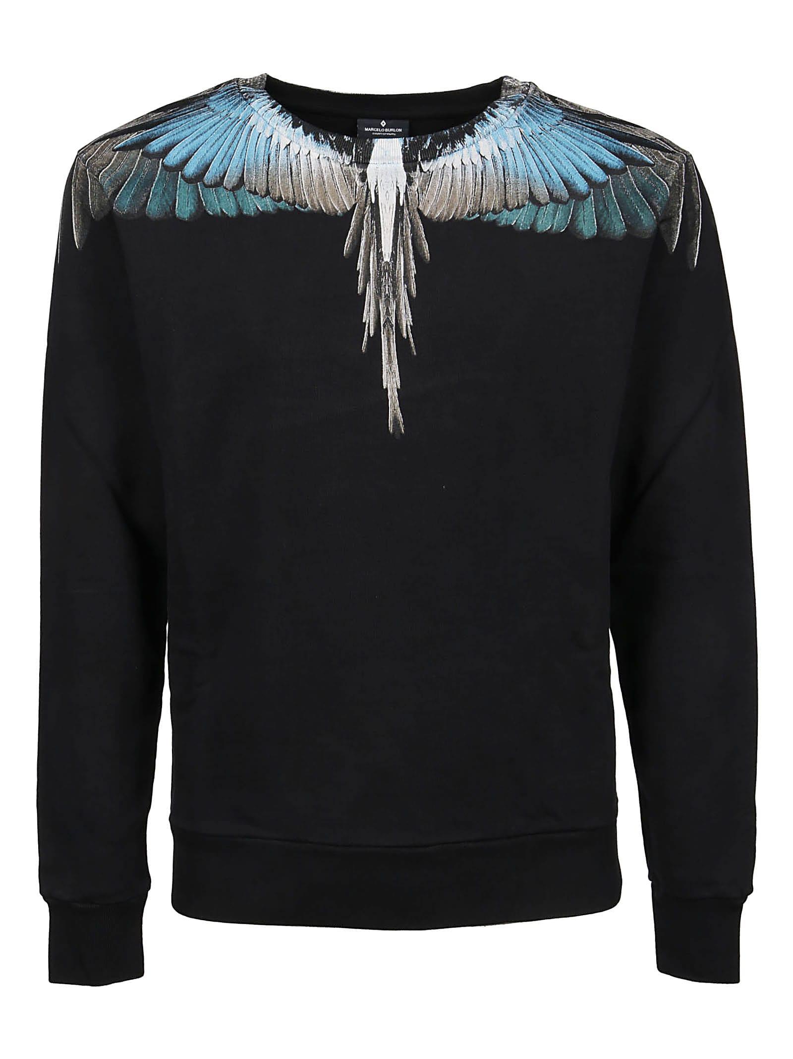 orologio 1fde3 db2b4 Best price on the market at italist | Marcelo Burlon Marcelo Burlon Felpa  Turquoise Wings