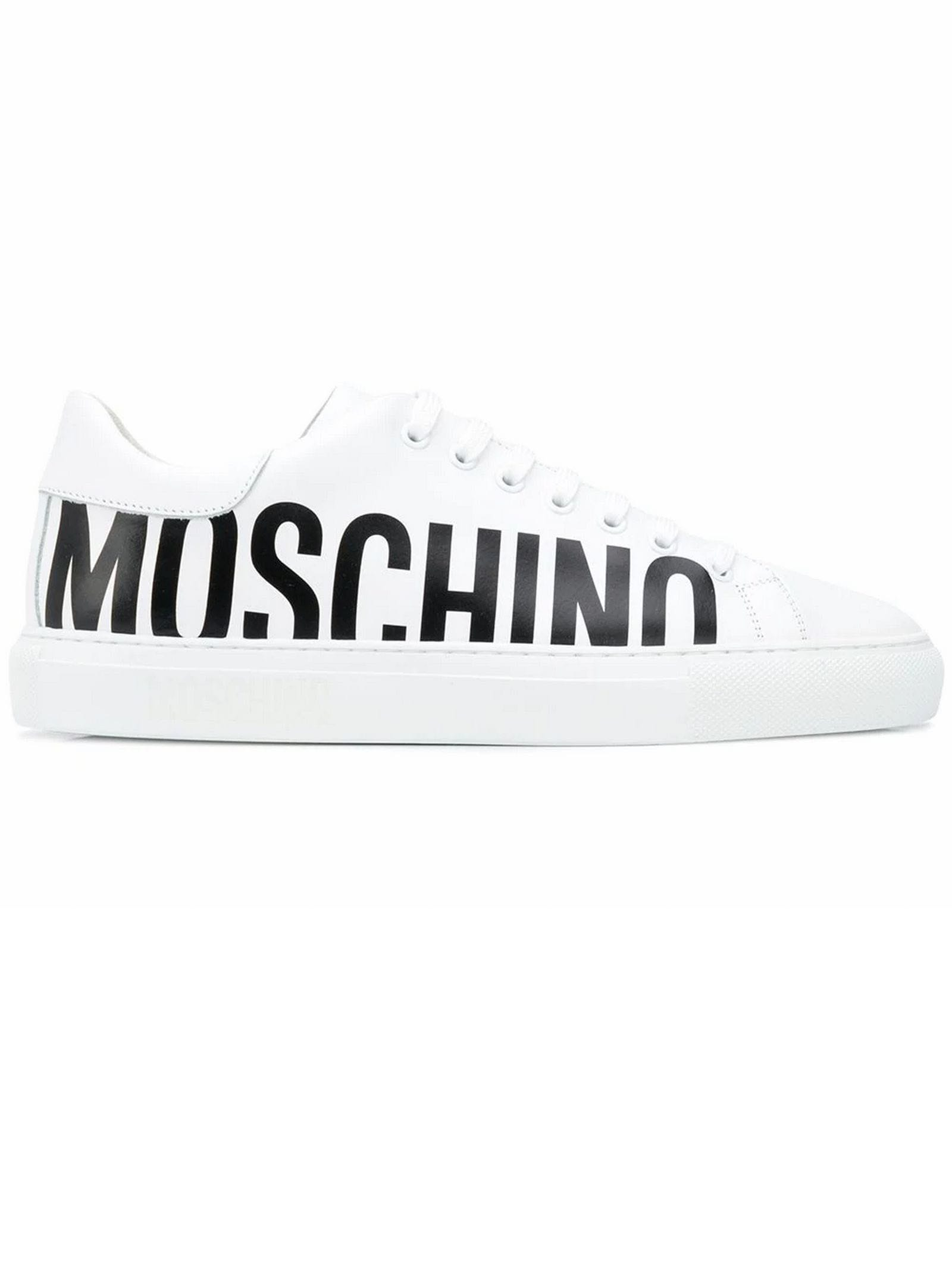 MOSCHINO WHITE LEATHER SNEAKERS
