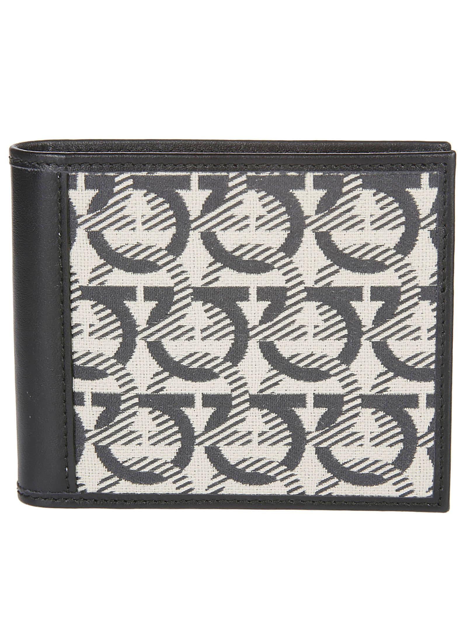 Salvatore Ferragamo Black Leather And Beige Cotton Gancini Wallet