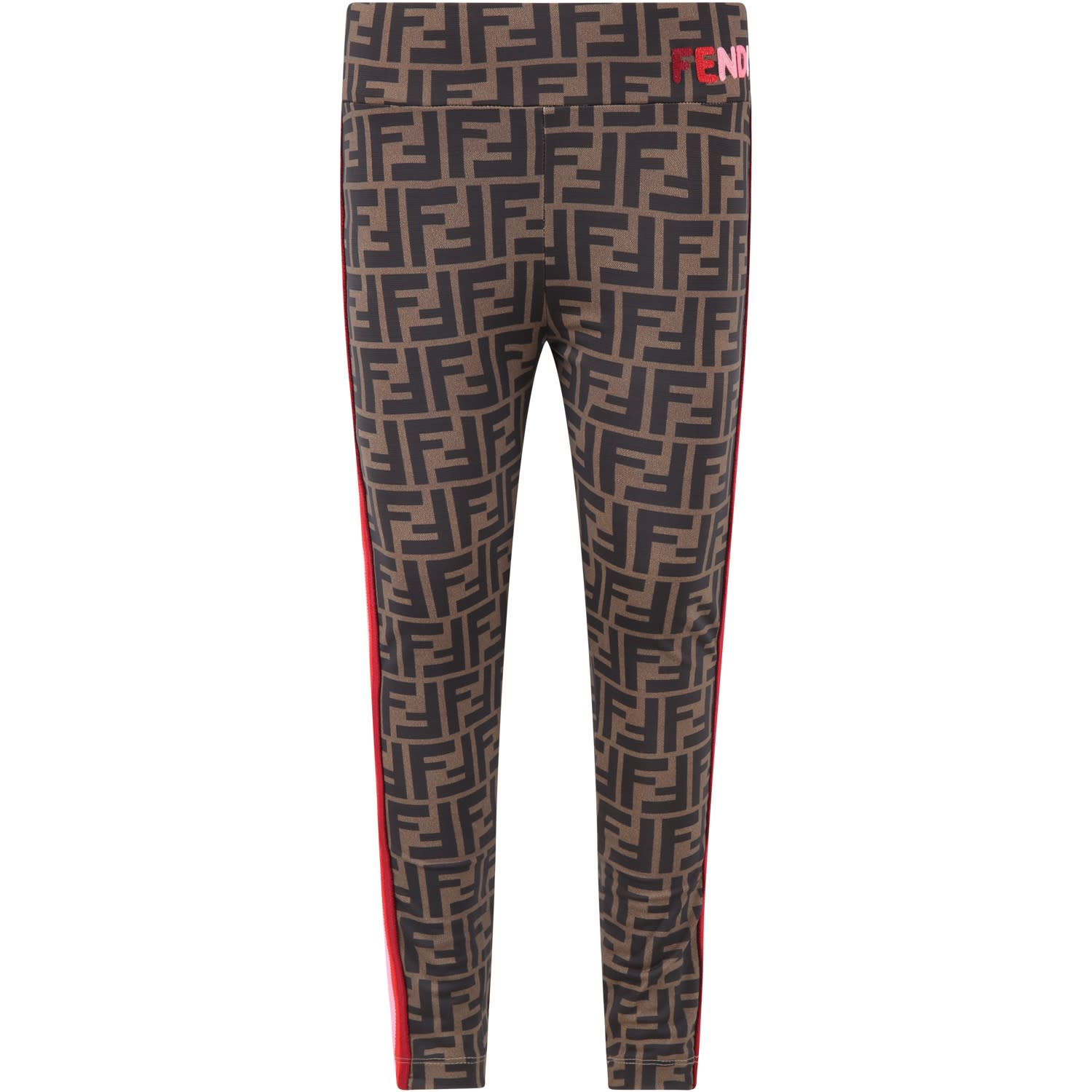 Fendi Leggings BROWN LEGGINGS FOR GIRL WITH LOGO
