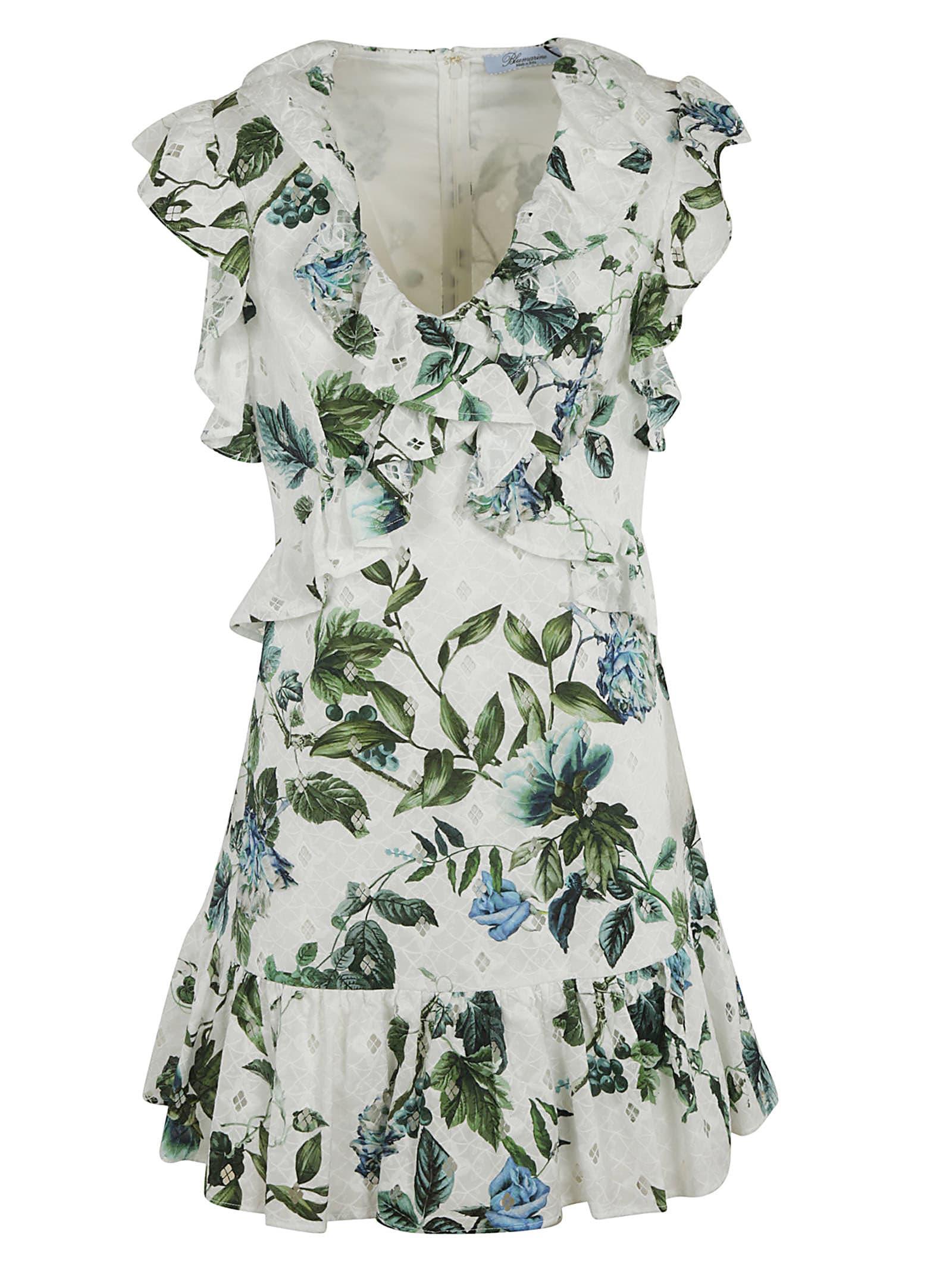 Buy Blumarine Floral Print Ruffled Dress online, shop Blumarine with free shipping